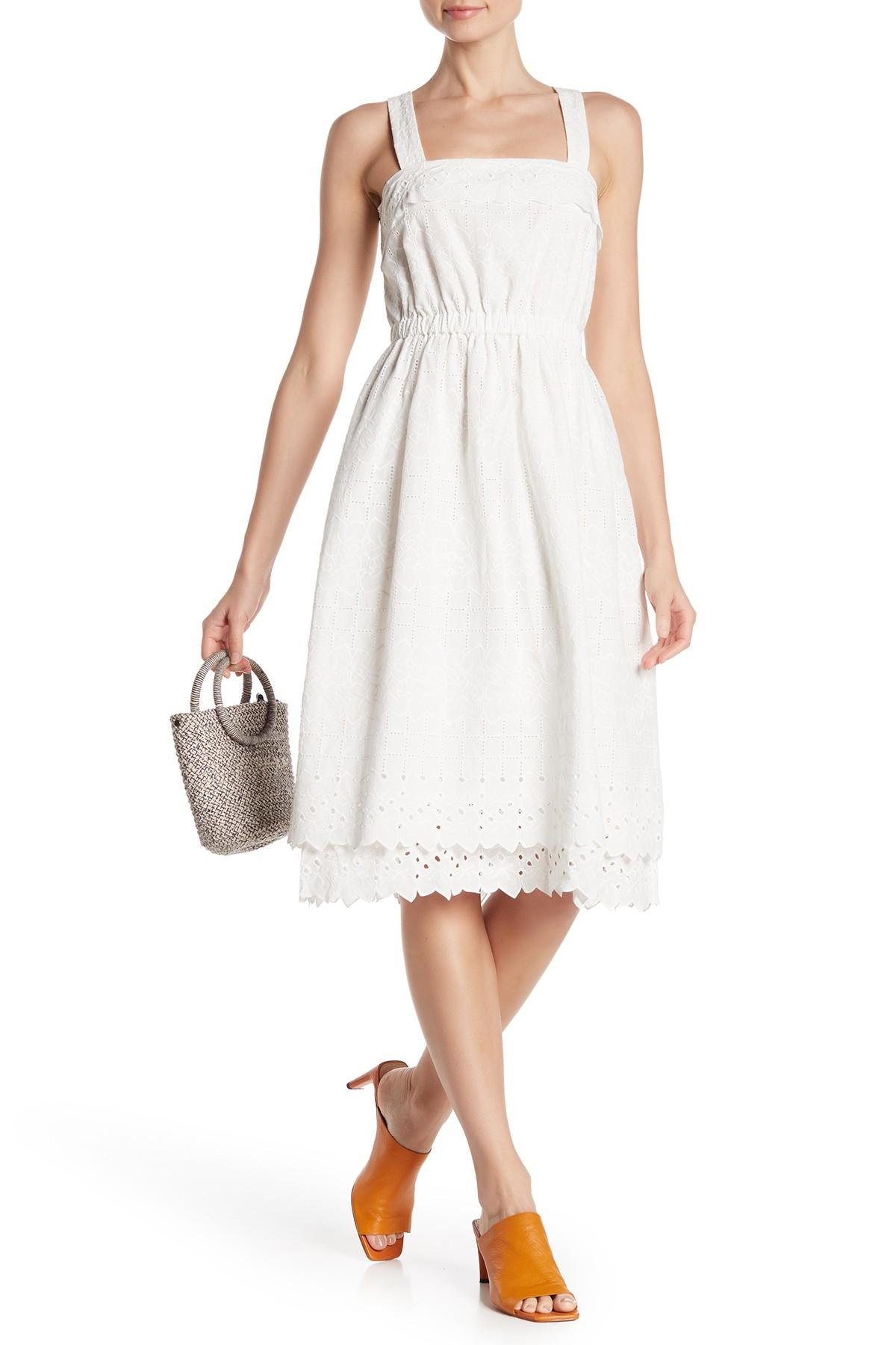 76c760b94c0 Lyst - Madewell Eyelet Lace Tiered Midi Dress in White