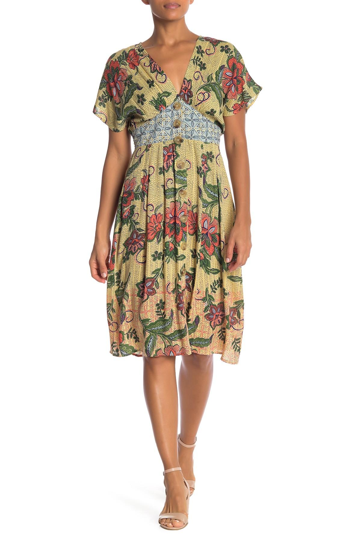 07b1294bdcb Angie. Women s Yellow Floral V-neck Button Front Dress.  30 From Nordstrom  Rack