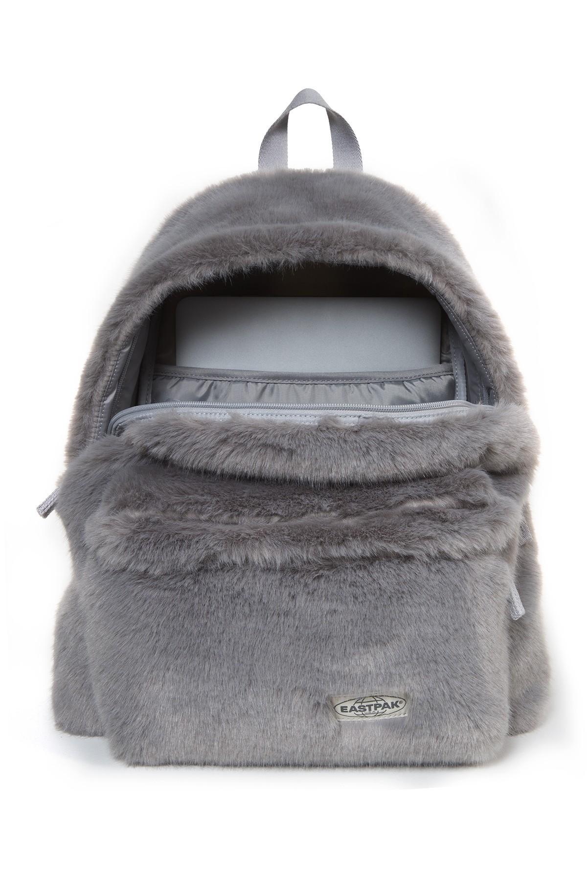 f134524cff8 Eastpak - Gray Faux Fur Padded Pak'r Backpack - Lyst. View fullscreen
