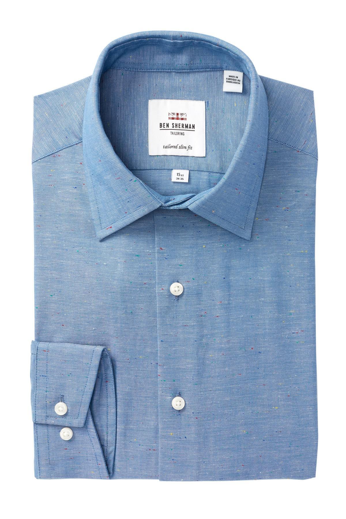 Lyst ben sherman slub chambray florentine tailored slim for Tailoring a dress shirt