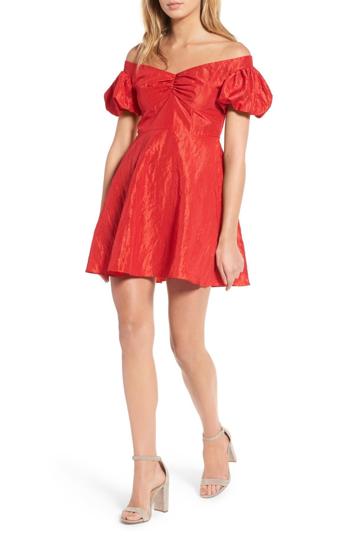 da59feddf2c4e6 TOPSHOP Taffy Puff Sleeve Off The Shoulder Dress in Red - Lyst