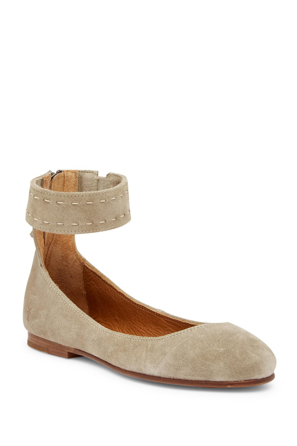 286648f8a2d Lyst - Frye Carson Ankle Strap Ballet Flat in Brown