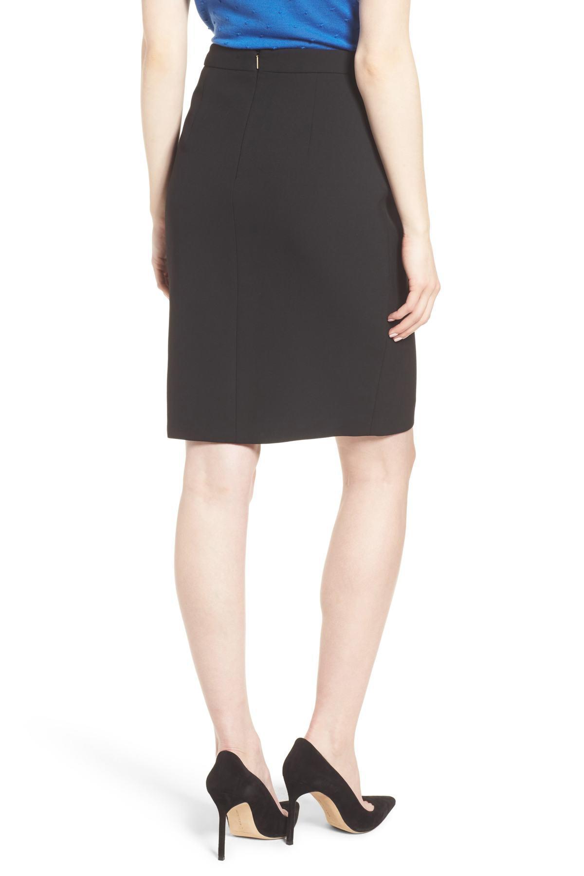 9d19b21875 BOSS - Black Volania Ponte Slit Pencil Skirt - Lyst. View fullscreen