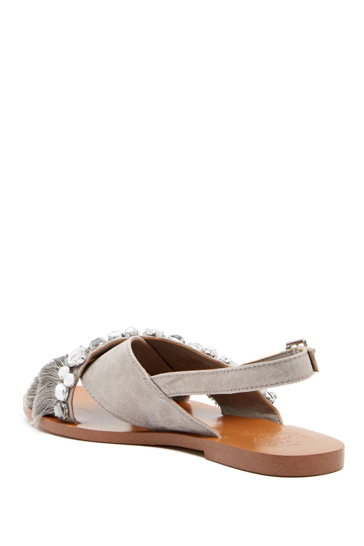096fb865743 Lyst - Vince Camuto Ampella Embellished Fringe Sandal in Gray