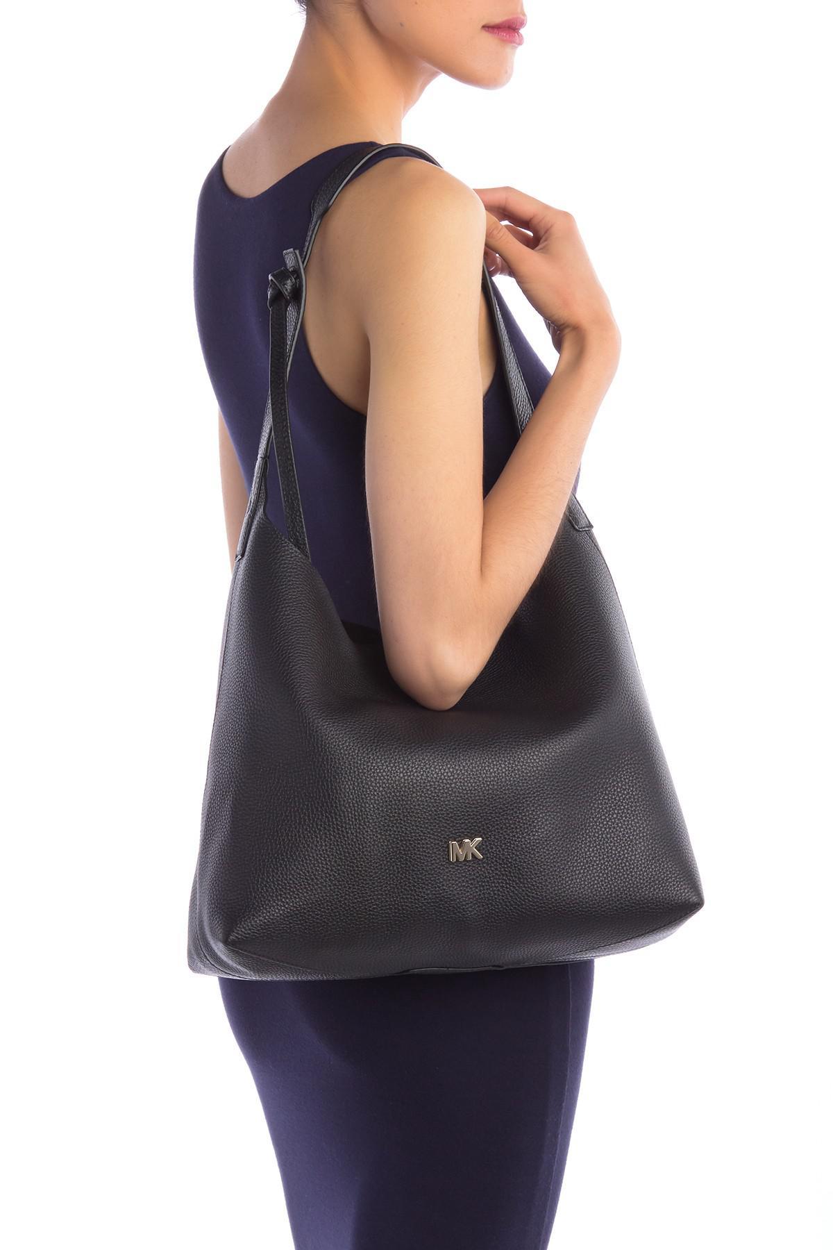 d5f38df62717 Lyst - MICHAEL Michael Kors Junie Medium Leather Hobo Bag in Black