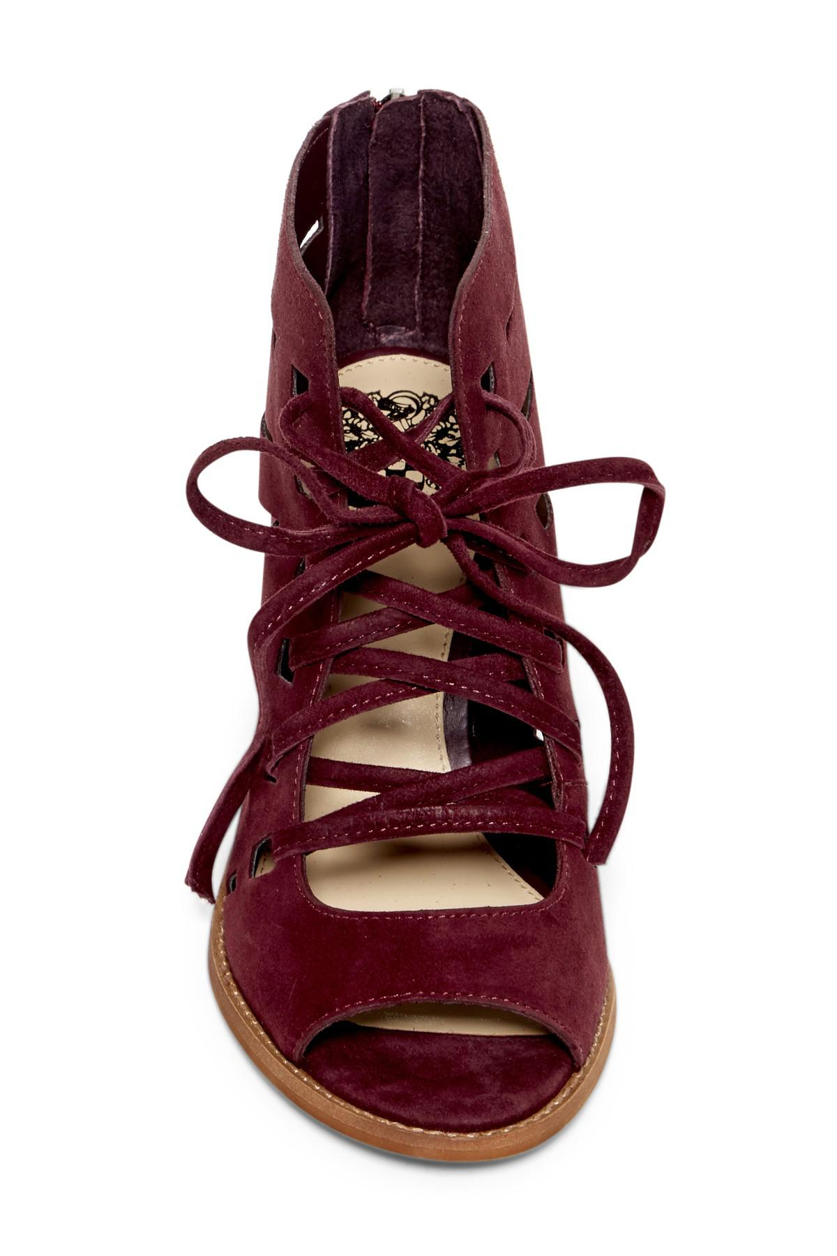 018c102c7368 Lyst - Vince Camuto Tressa Perforated Lace-up Sandal in Red