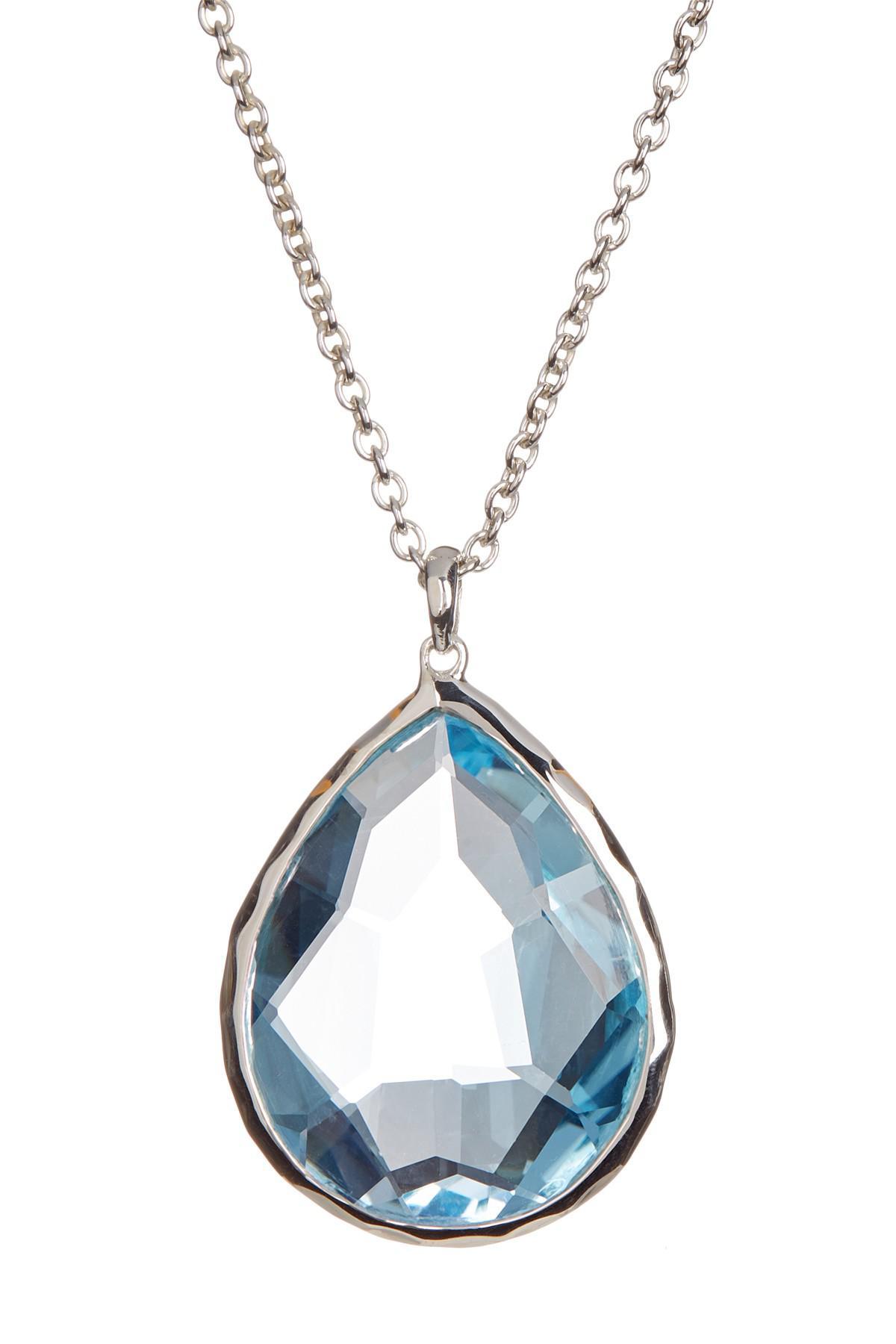 Ippolita Wonderland Silver Mini Teardrop Necklace in London Blue Topaz LPC7NYEil
