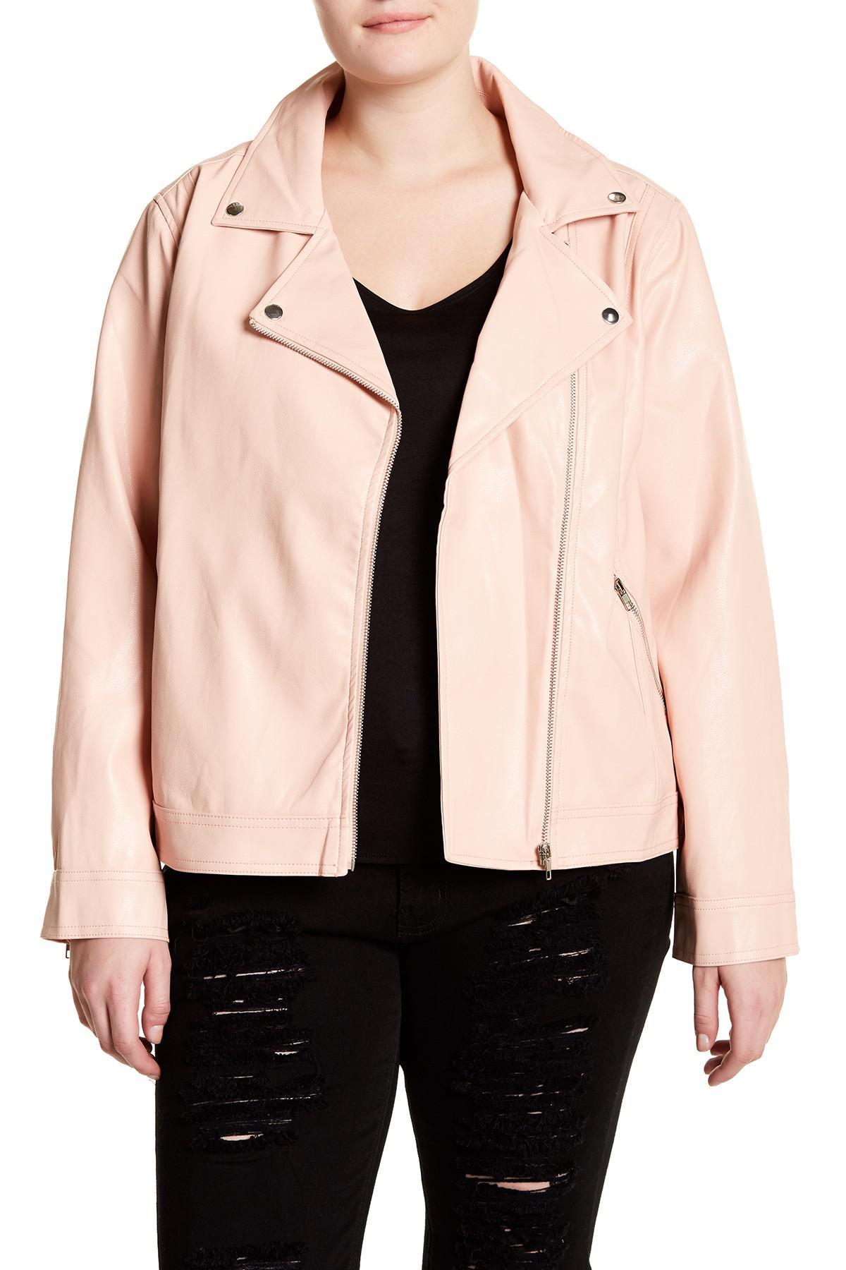 Lyst - Blu Pepper Faux Leather Moto Jacket (plus Size) in Pink