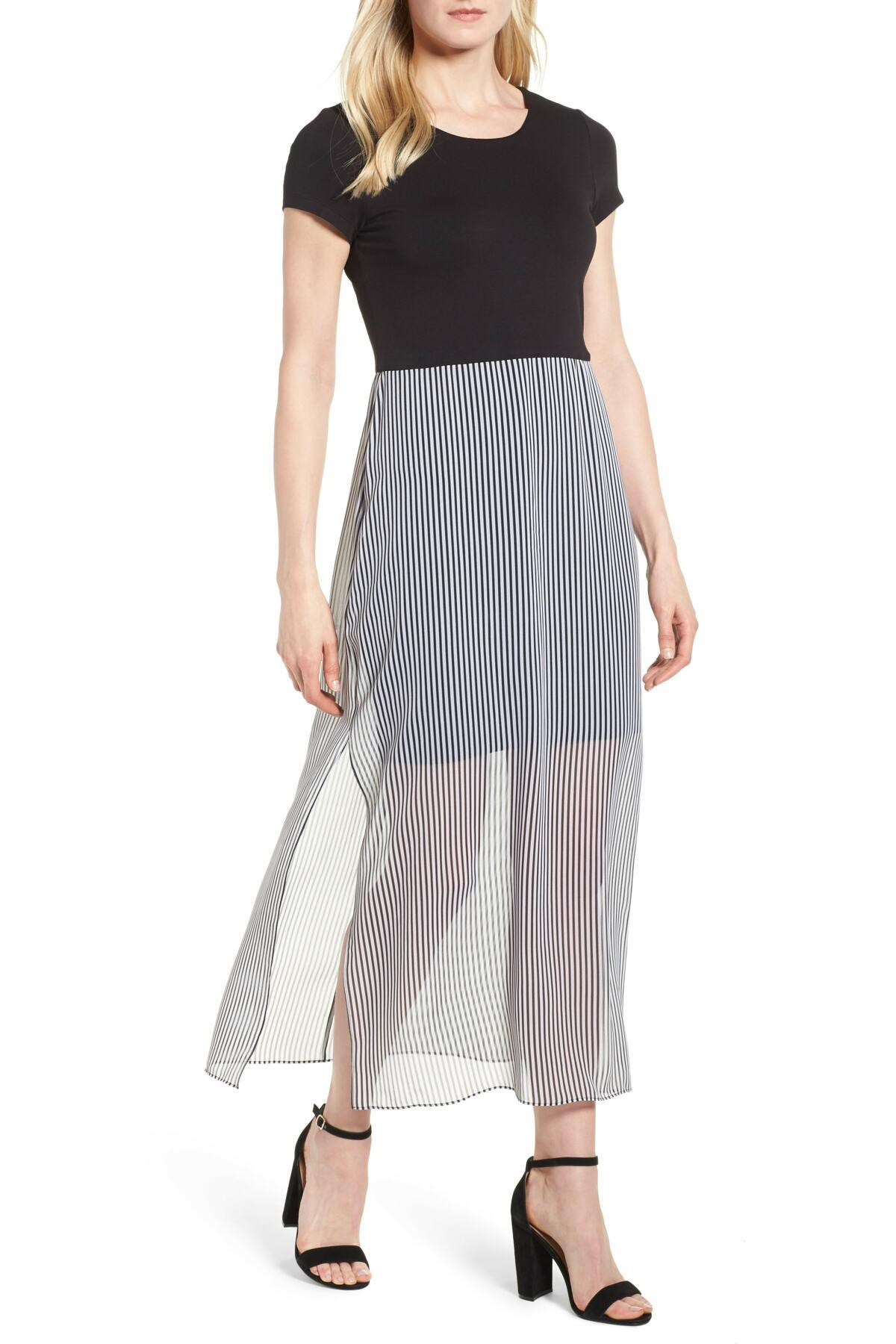 a66269289c8 Lyst - Vince Camuto Stripe Chiffon Overlay Maxi Dress in Black
