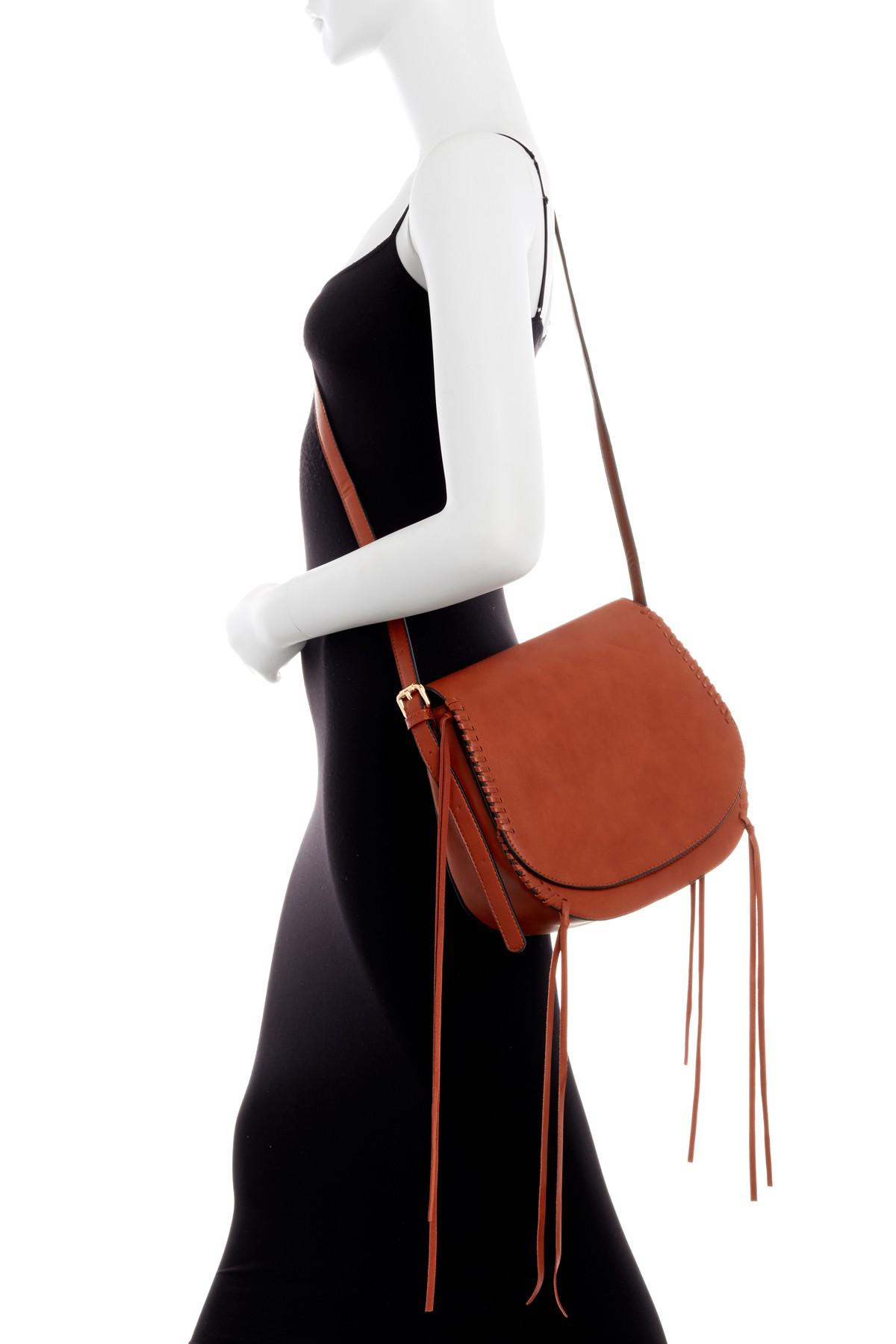 Exceptional Urban Expressions Ellison Vegan Leather Saddle Crossbody In Red | Lyst