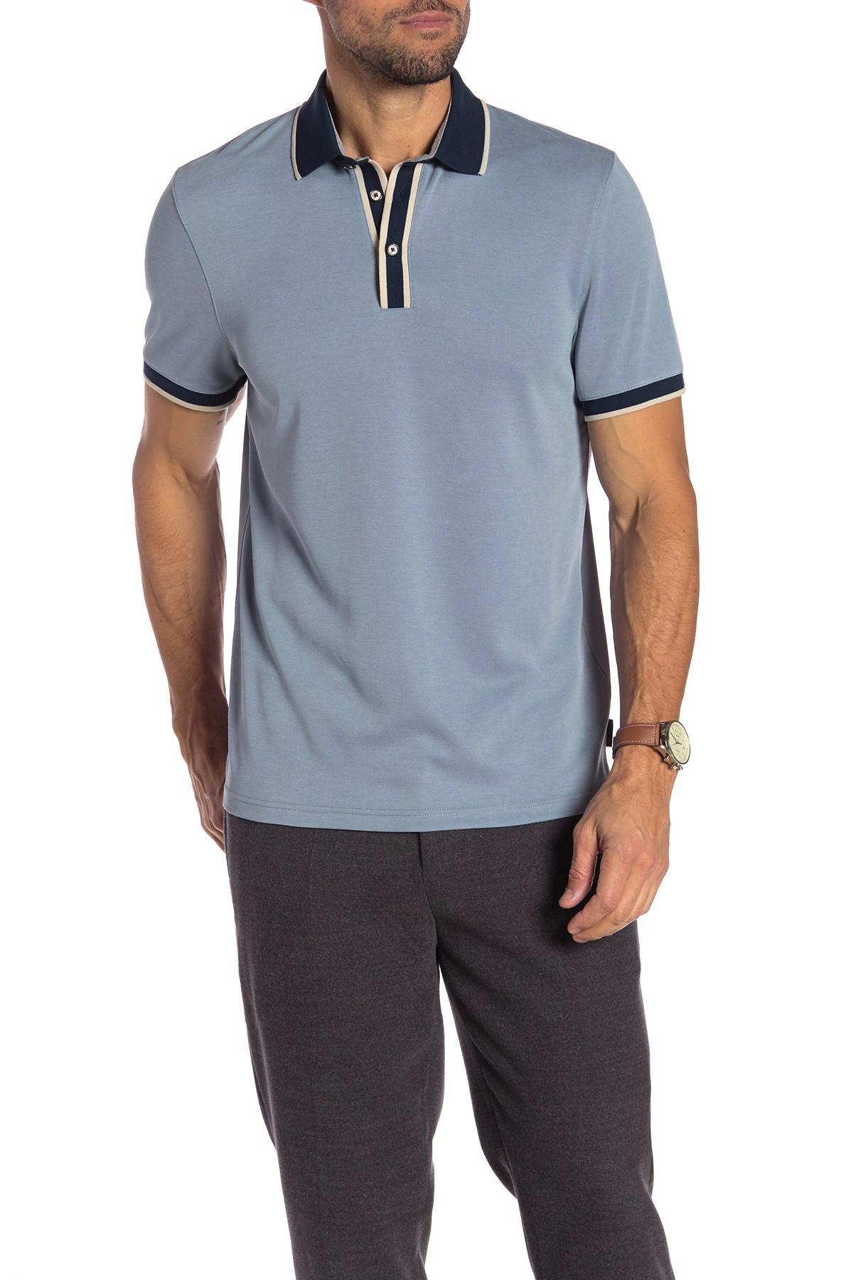 f9d508a45fa440 Lyst - Ted Baker Howl Knit Collar Polo Shirt in Blue for Men
