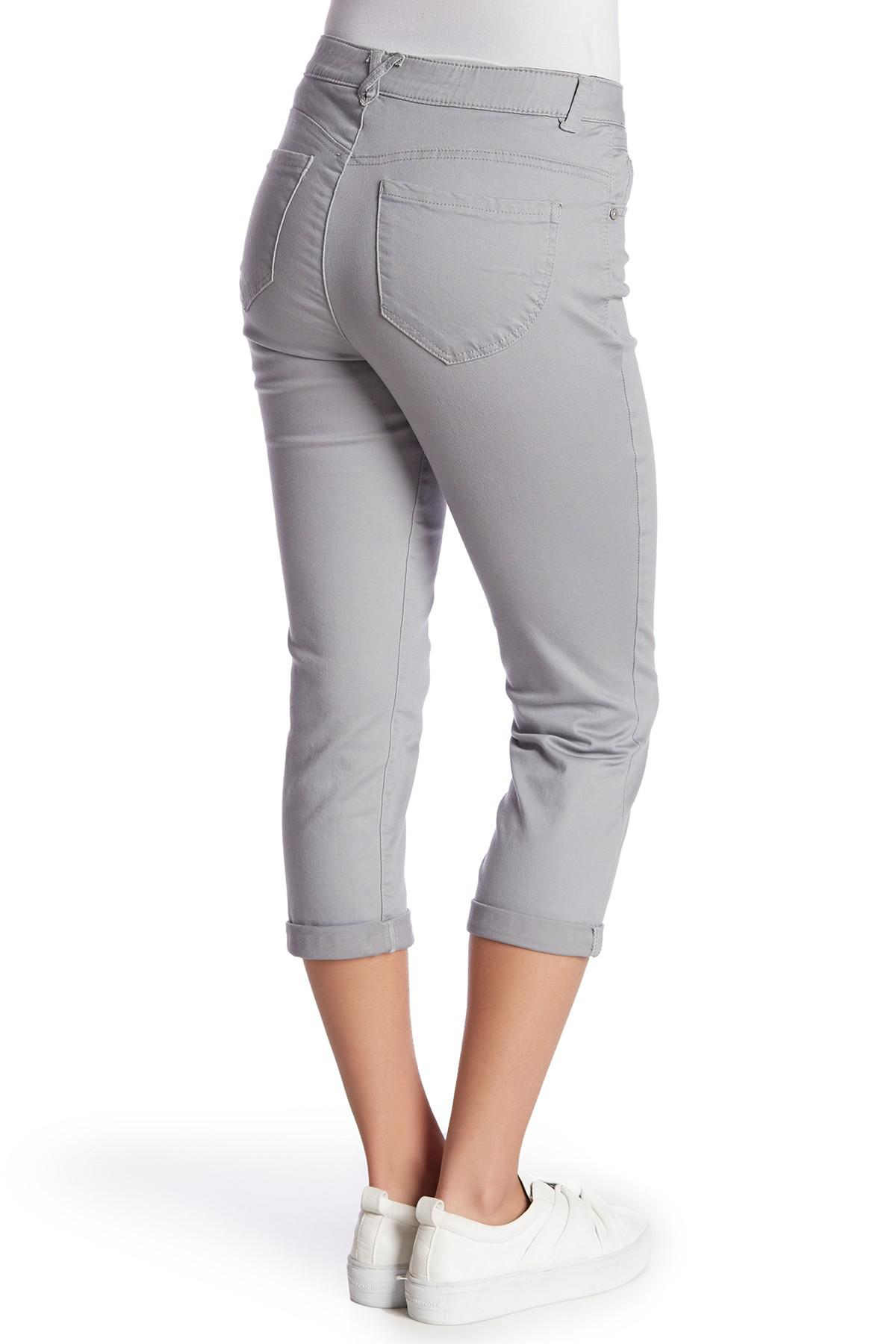 6ac28663d176e Democracy - Gray High-rise Stretch Twill Rolled Pants (petite) - Lyst. View  fullscreen