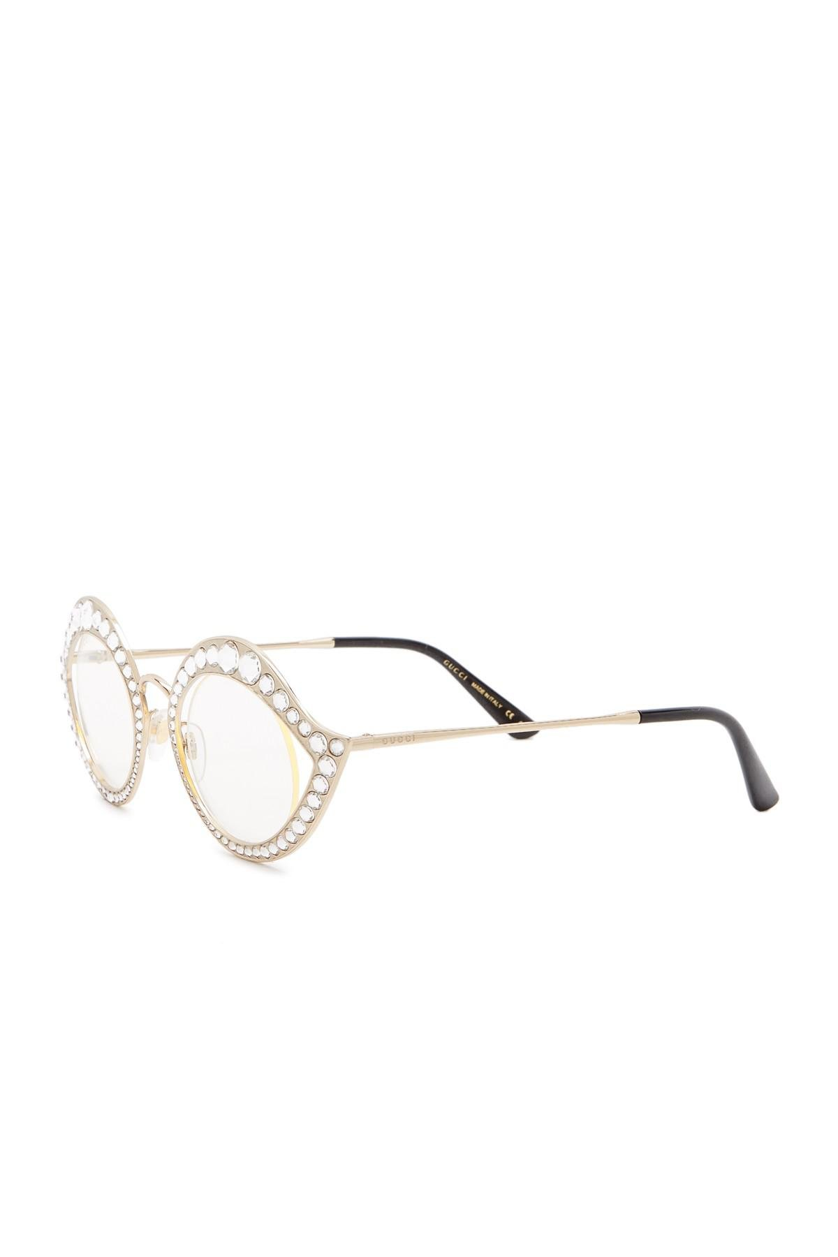 726ed6801f7 Lyst - Gucci Crystal-studded Cat Eye Glasses in Metallic