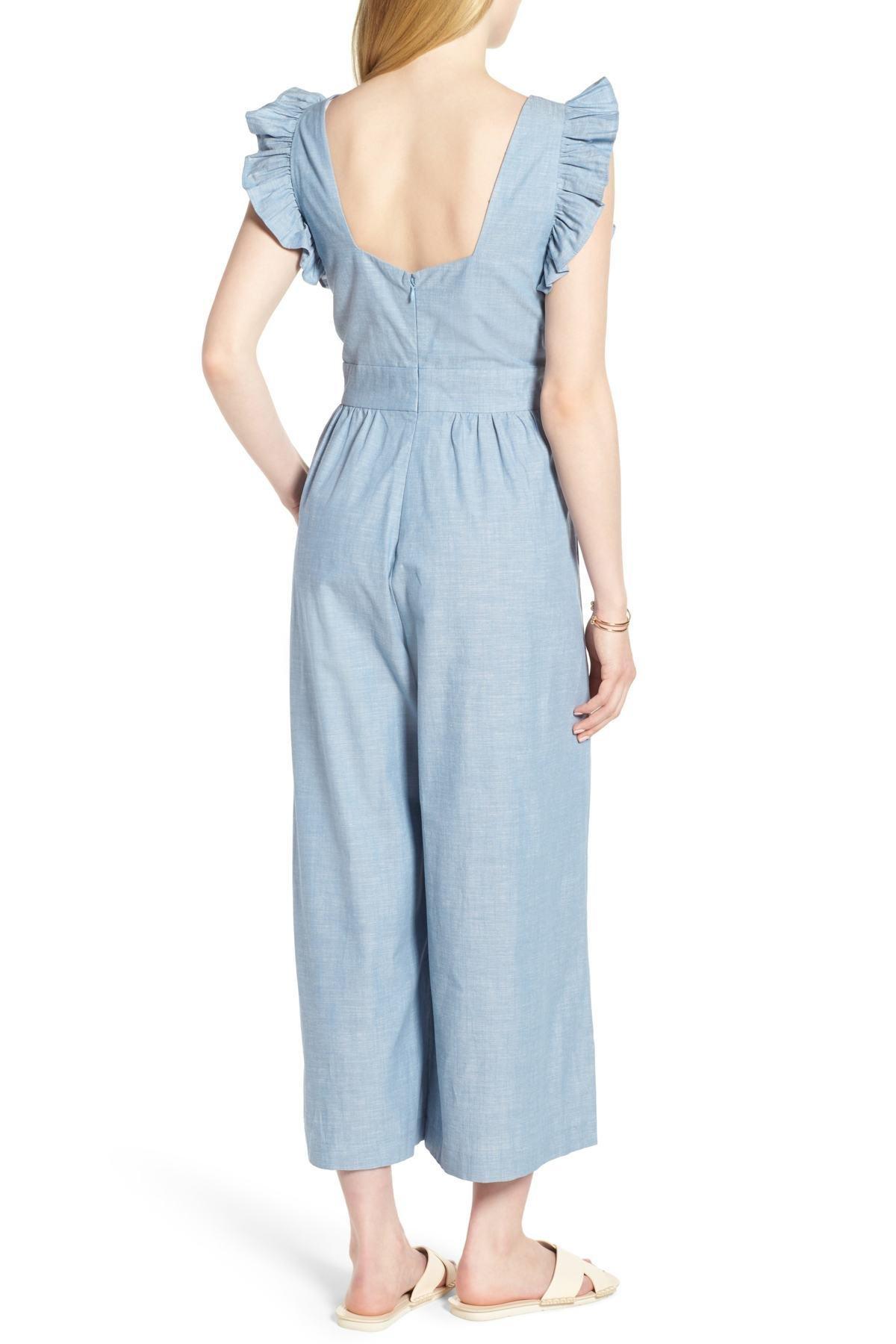 7d88bde47b3 Lyst - 1901 Ruffle Sleeve Crop Jumpsuit (regular   Petite) in Blue ...