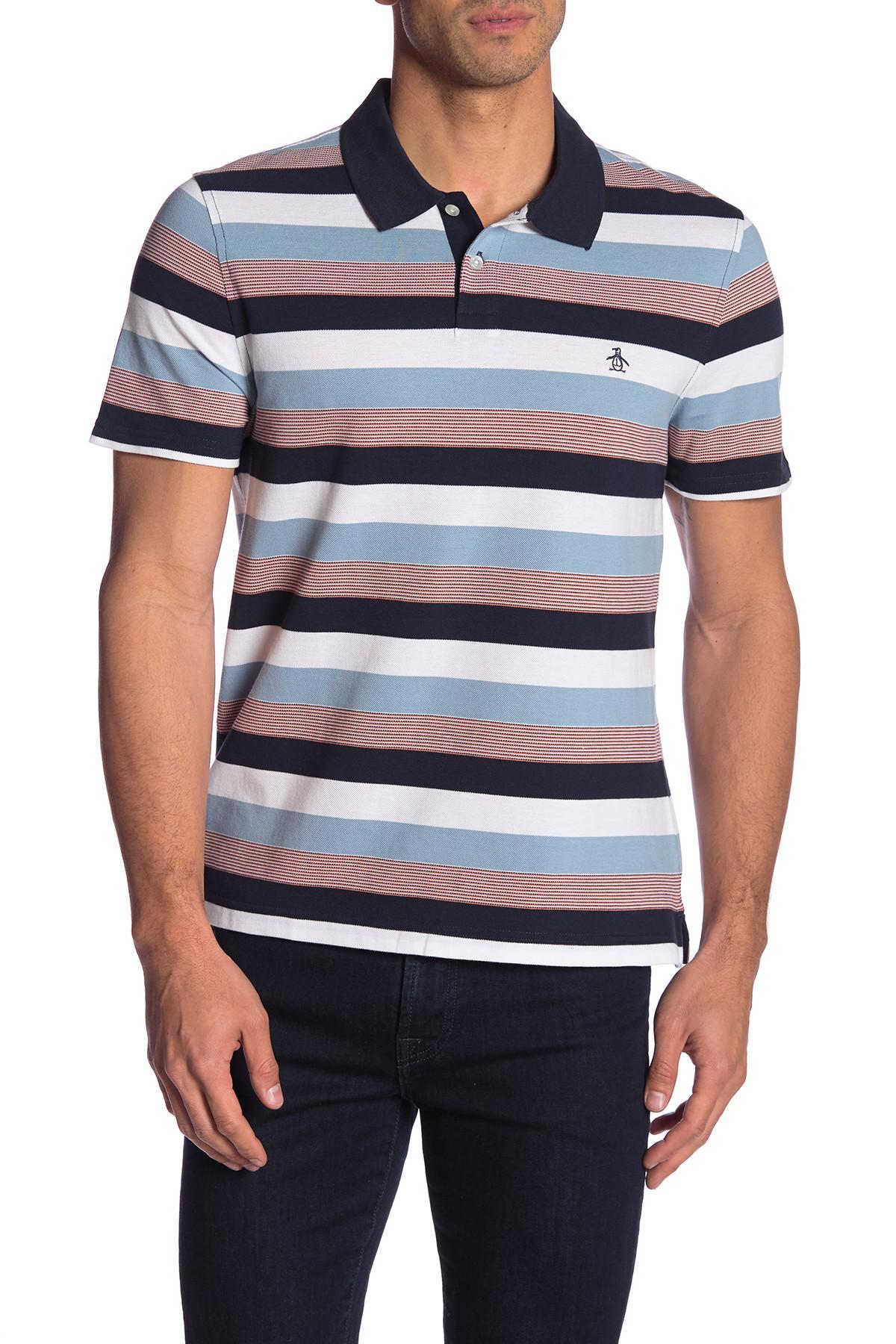 188b1c80d Original Penguin - Blue Pique Stripe Short Sleeve Polo for Men - Lyst. View  fullscreen