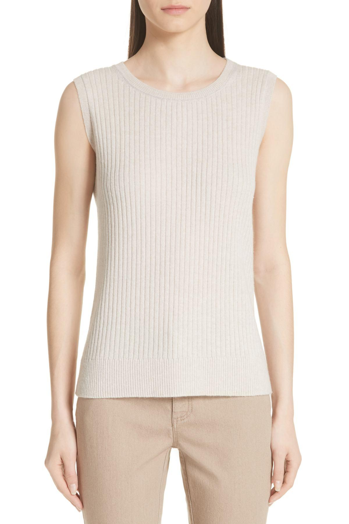 e330f5c62df266 Lyst - Lafayette 148 New York Ribbed Cashmere Tank Top (nordstrom ...