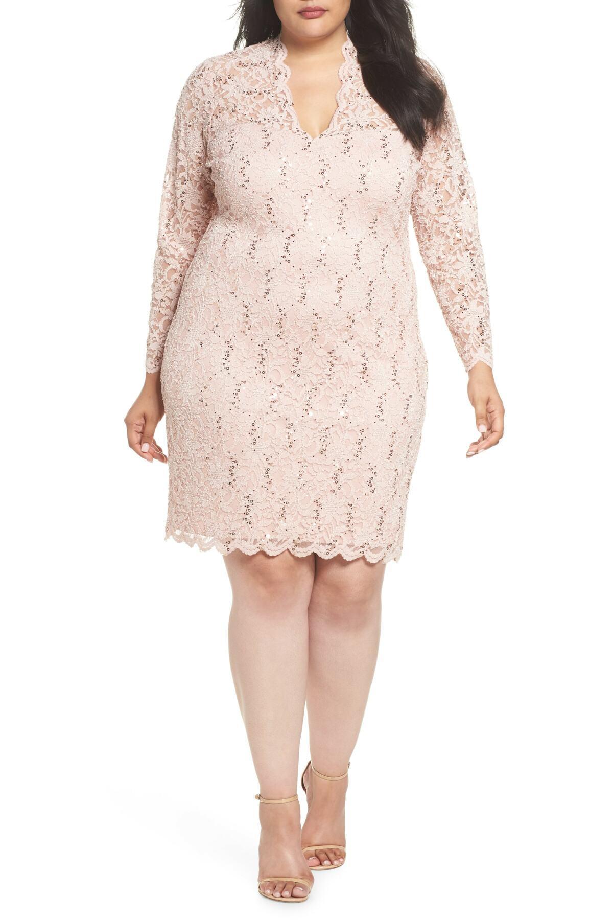 c25831ac Lyst - Marina Sequin Stretch Lace Sheath Dress (plus Size) in Pink ...
