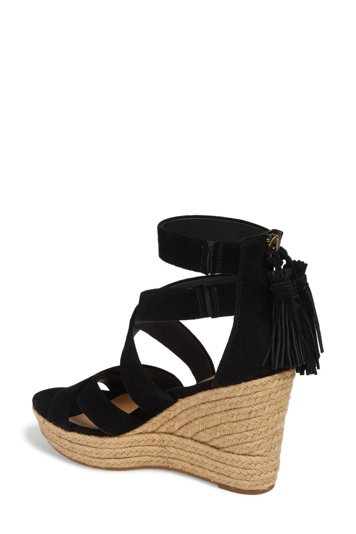 a5b54717464 Lyst - UGG Ugg Raquel Platform Wedge Sandal in Black