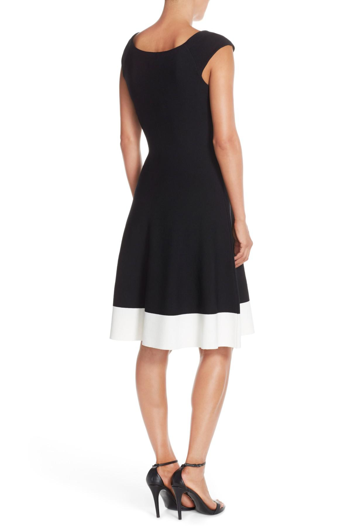 Lyst Eliza J Colorblock Fit Flare Sweater Dress In Black