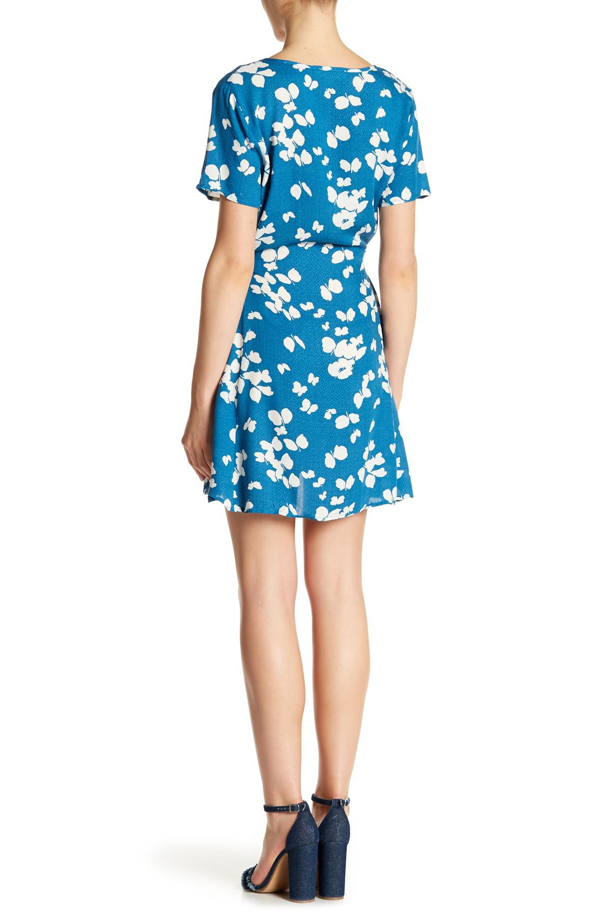 70511cc3582d8 Lyst - Love Stitch Front Button Printed Dress in Blue
