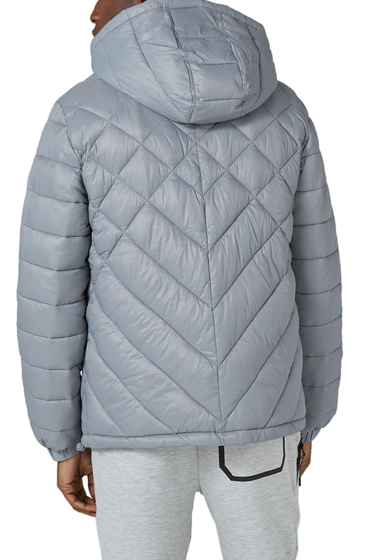 Lyst Topman Hooded Quilted Jacket In Gray For Men