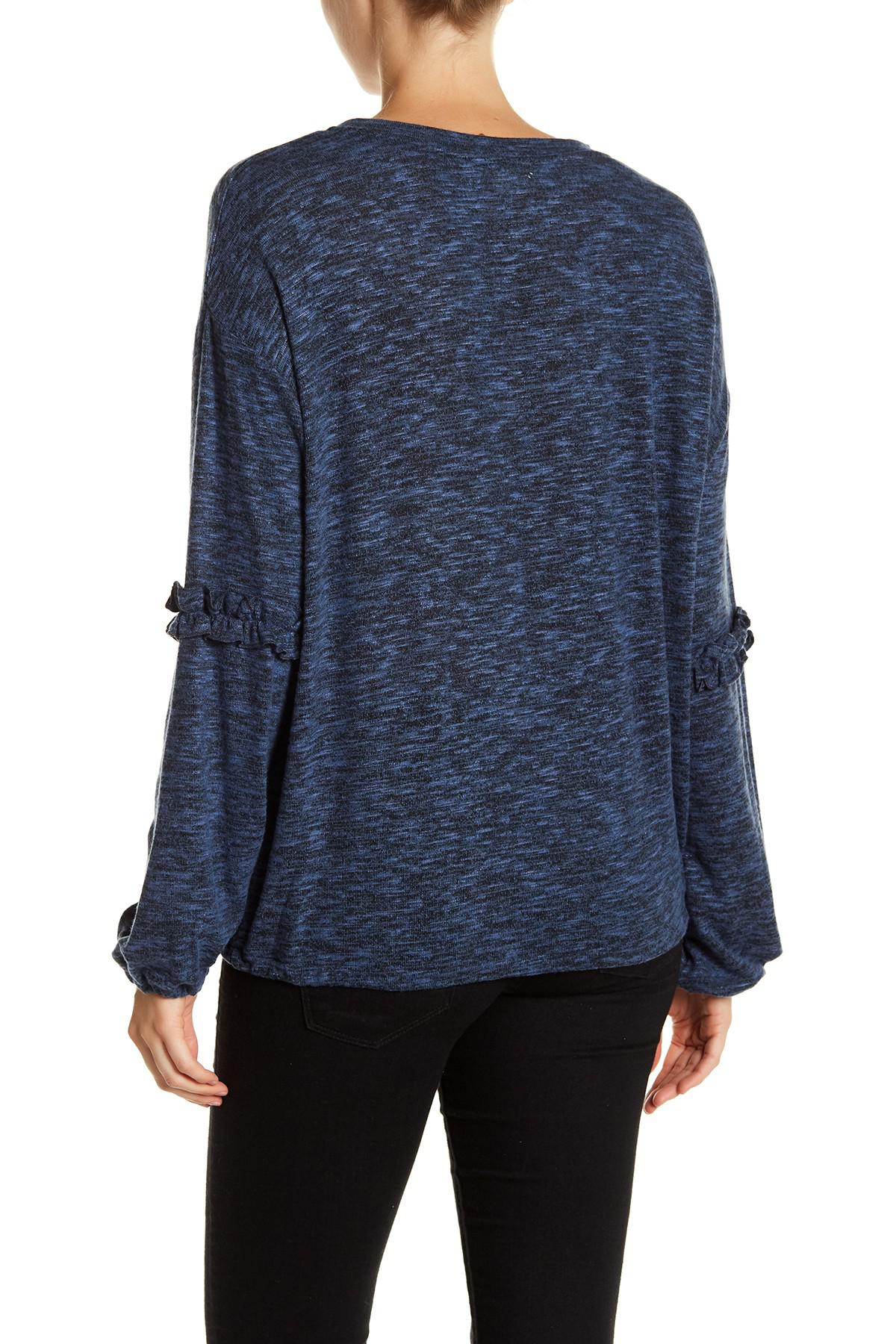be58f1914cc Lyst - Two By Vince Camuto Marled Knit Bubble Sleeve Shirt in Blue