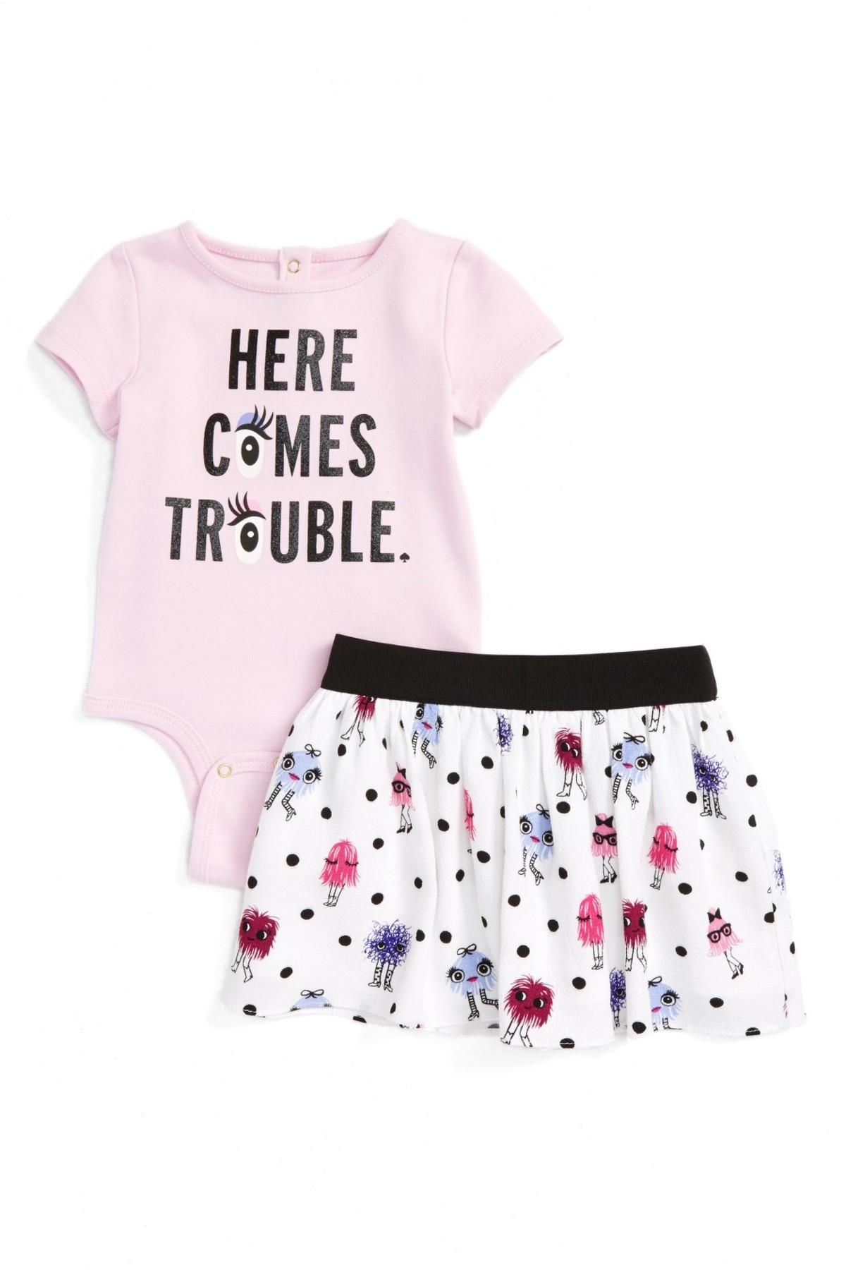 a5083a960660 Lyst - Kate Spade Here Comes Trouble Bodysuit & Skirt Set (baby Girls)