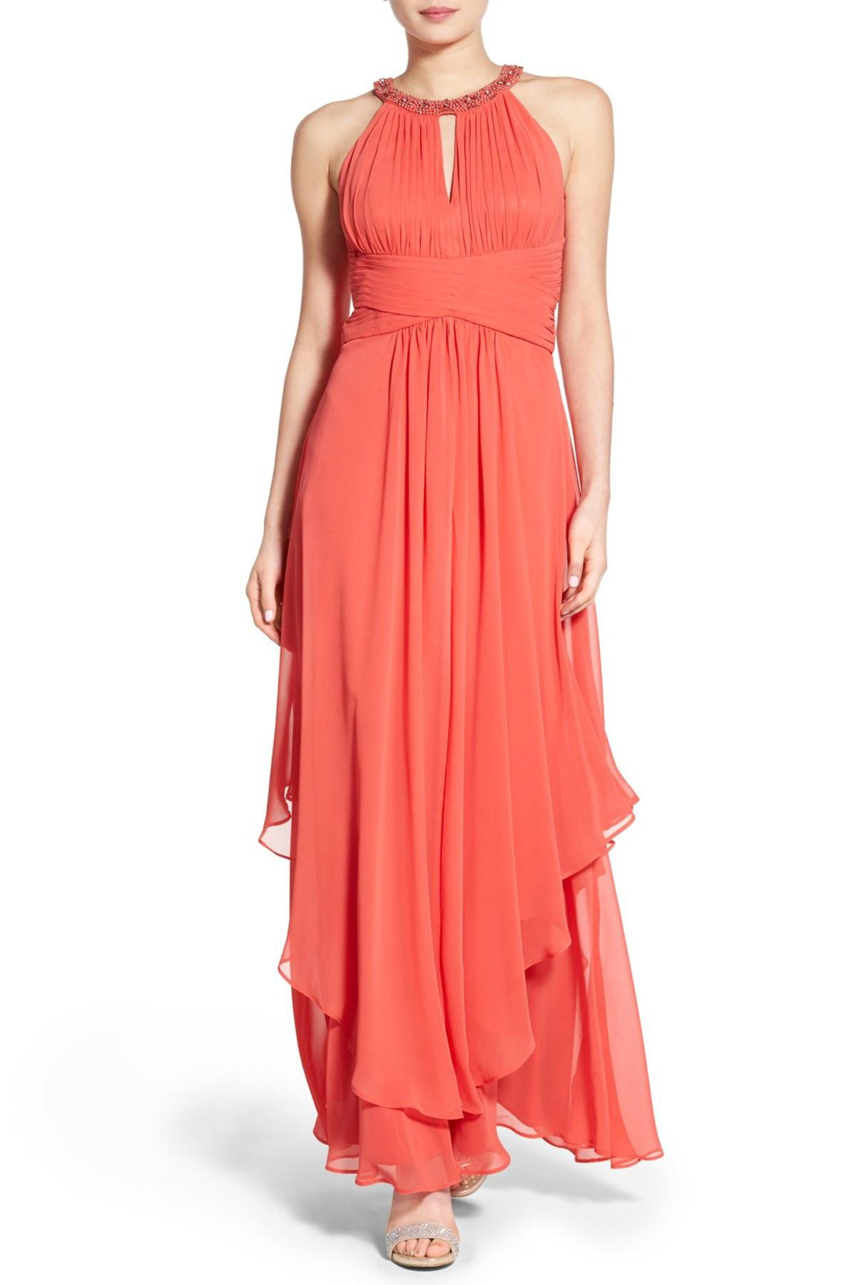 Lyst - Eliza J Embellished Tiered Chiffon Halter Gown in Pink