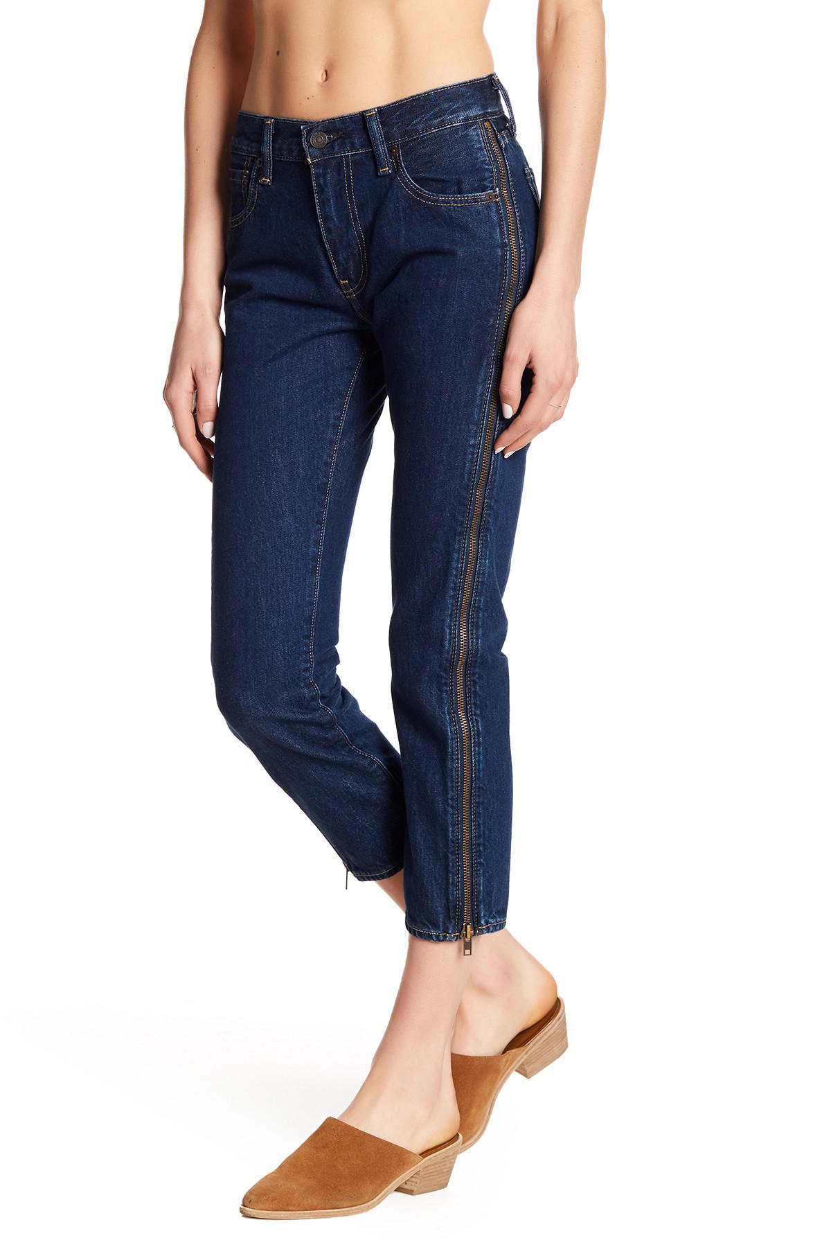 Levi's. Women's Blue 505c Cropped Zipper Skinny Jeans