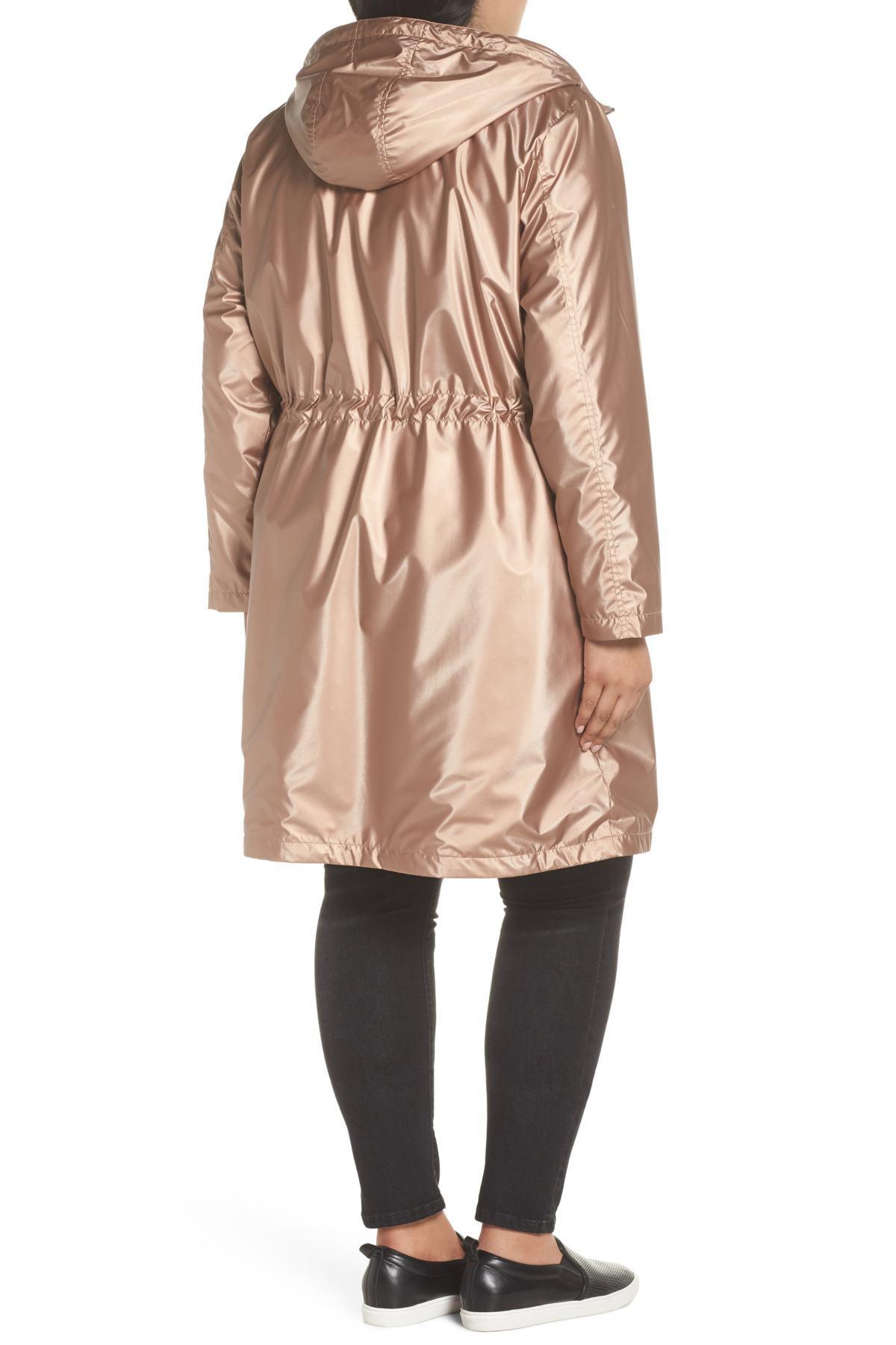 9ae7d0e6c6df9 Lyst - Bernardo Faux Fur Lined Metallic Rain Jacket (plus Size)