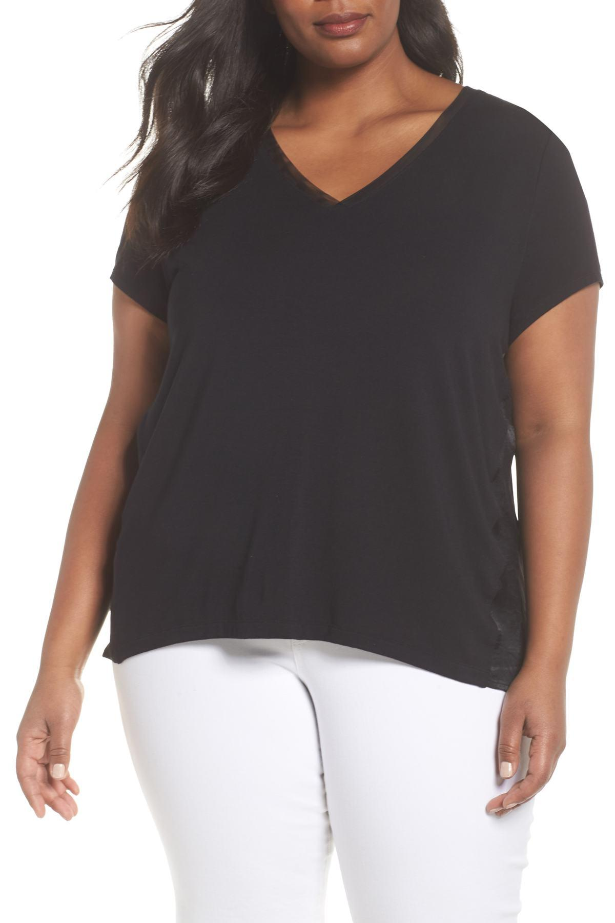 afe948ca7e866 Lyst - Sejour Mixed Media V-neck Top (plus Size) in Black