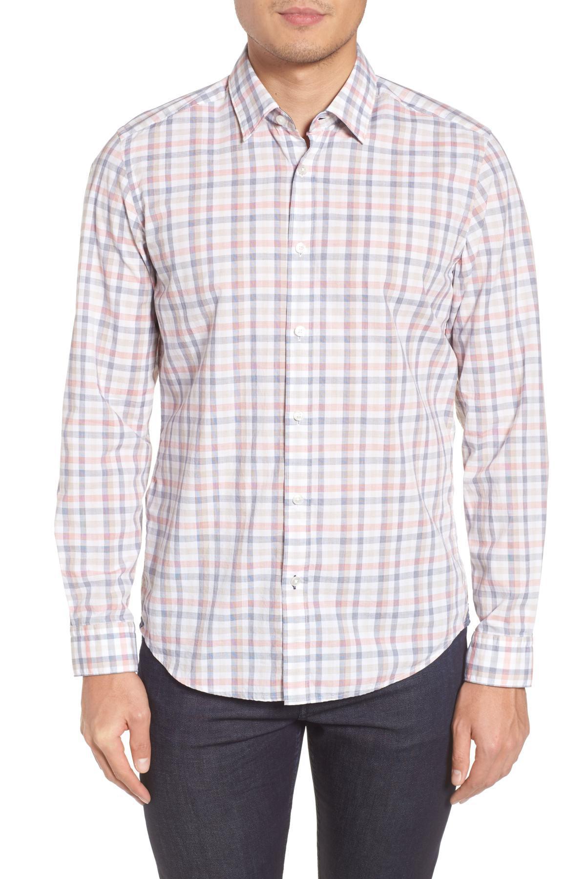 81980441 BOSS Lukas Regular Fit Check Sport Shirt for Men - Lyst