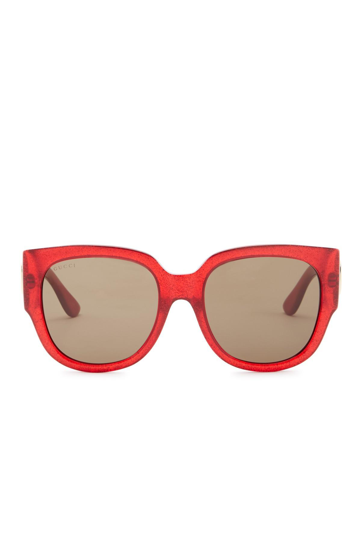 f8e3d0d0b43 Lyst - Gucci 55mm Glitter Square Sunglasses in Red
