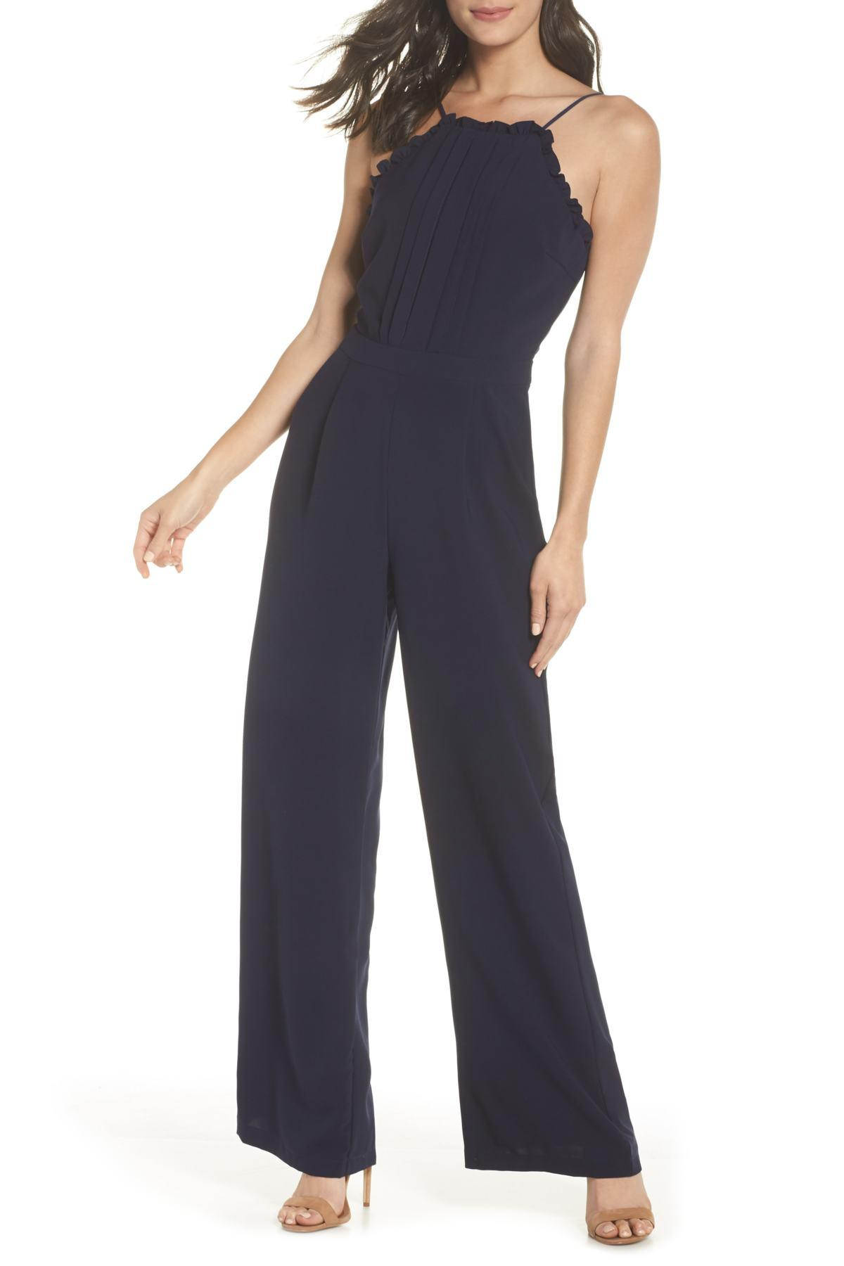 ea983f6dc87 Lyst - Adelyn Rae Apron Style Jumpsuit in Blue - Save 27%