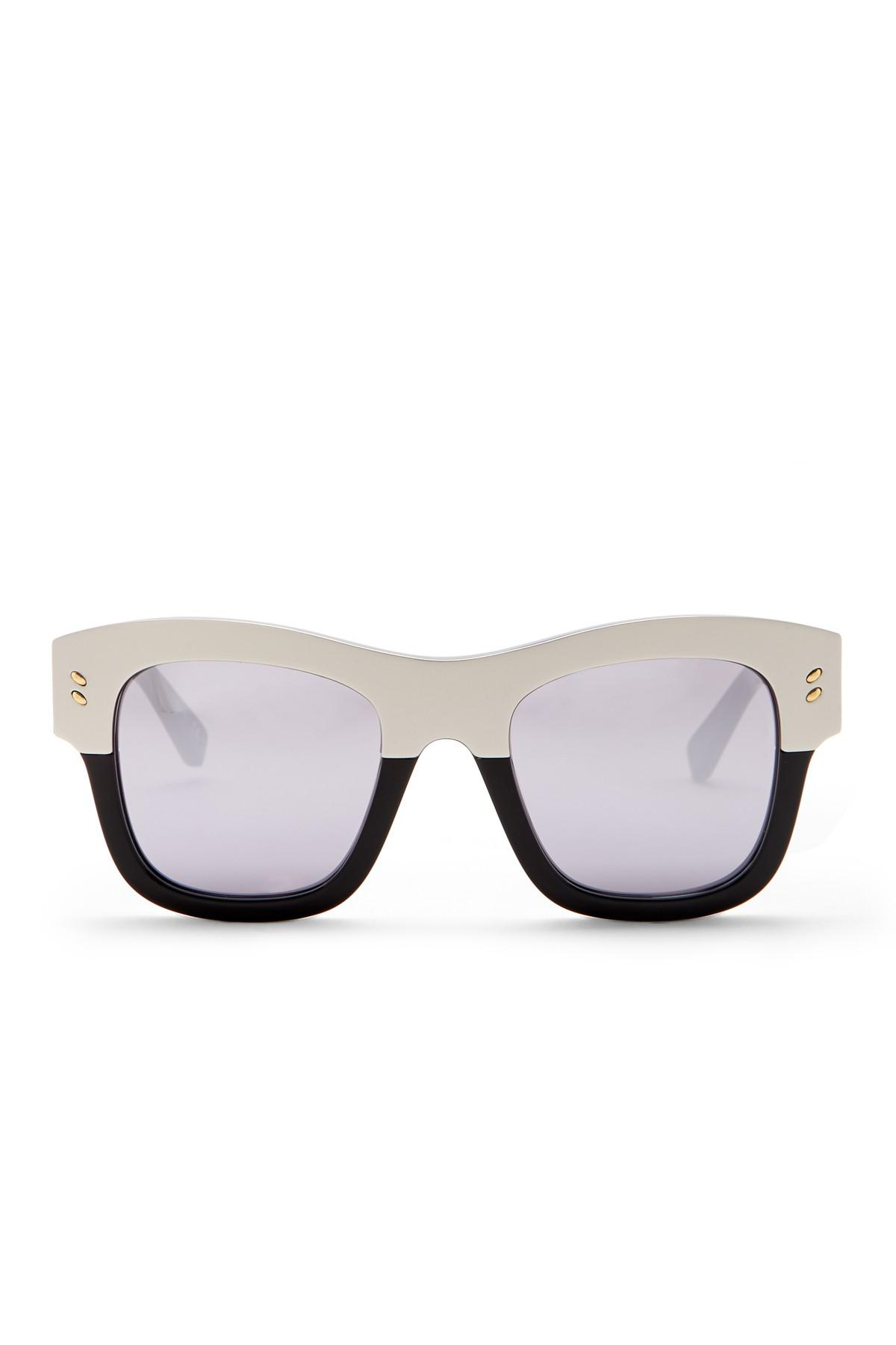 c2a026aa292d Stella McCartney - Metallic 49mm Square Sunglasses - Lyst. View fullscreen