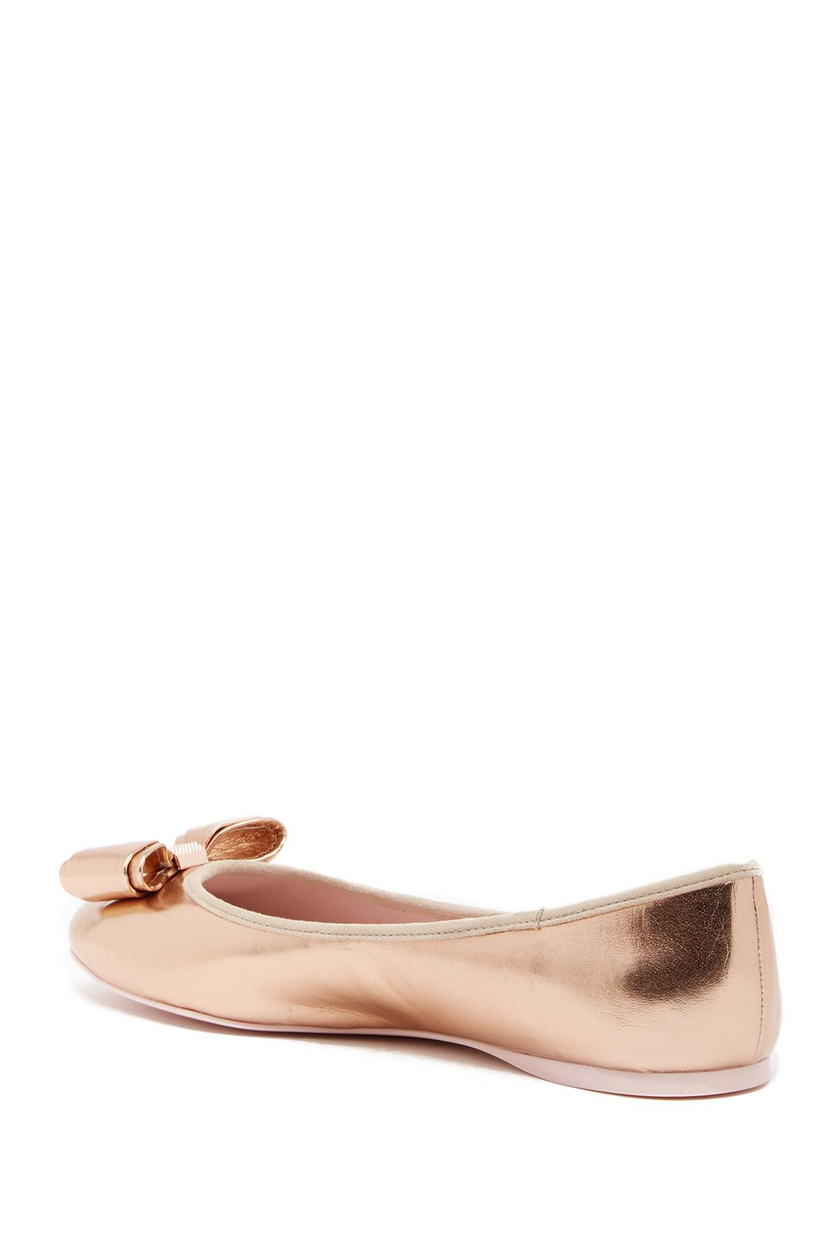 9ecce15a6b1f38 Lyst - Ted Baker Immet Bow Flat in Pink