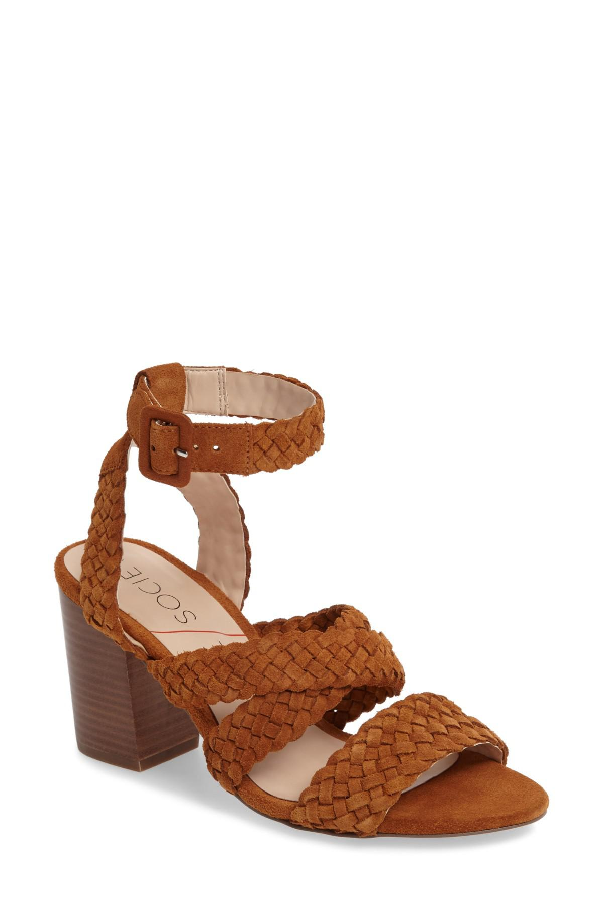 76a52bbca8c Lyst - Sole Society Evelina Block Heel Sandal in Brown - Save 59%