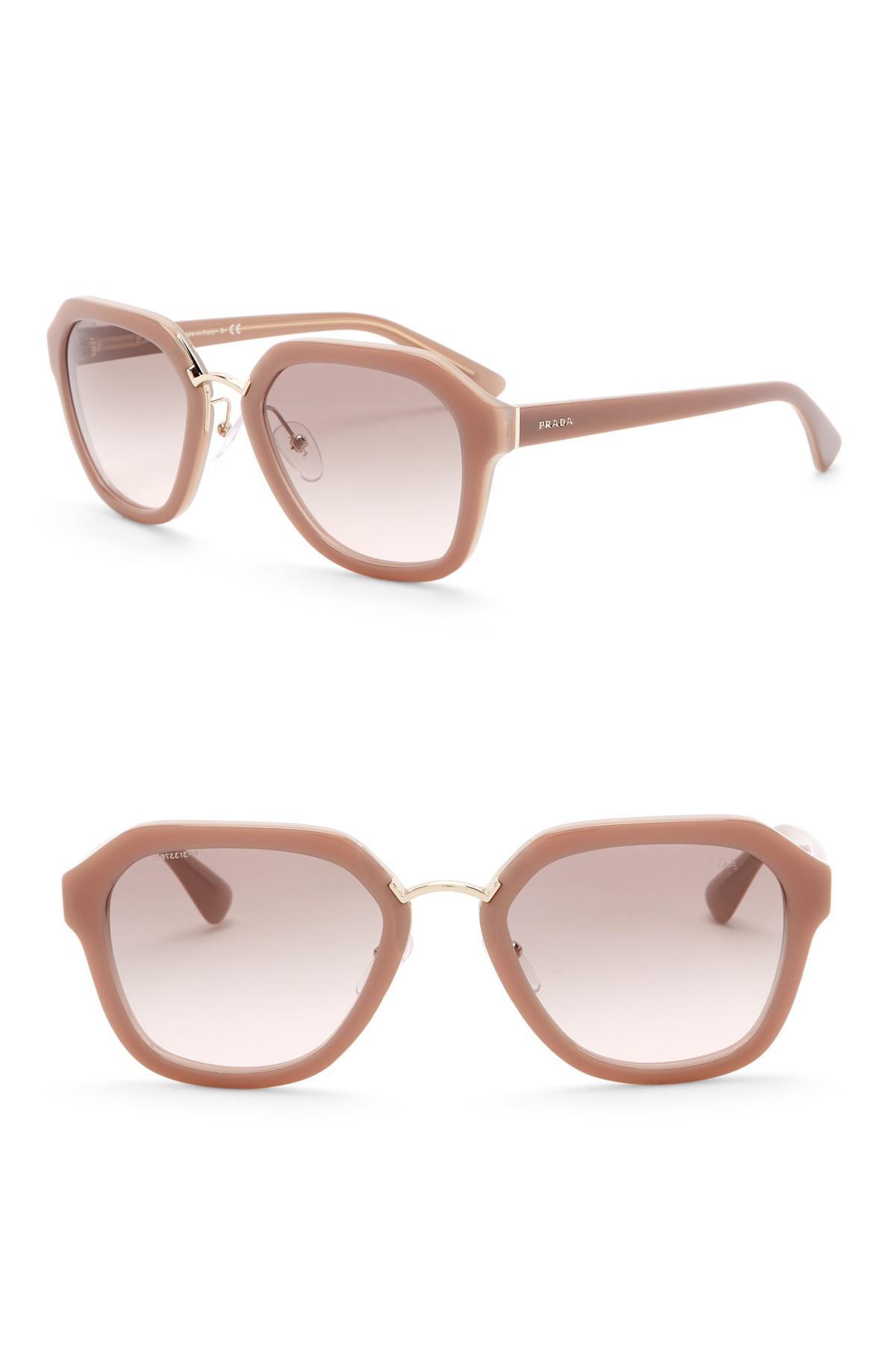fb4d3b570ae89 Prada 55mm Square Sunglasses in Pink - Lyst