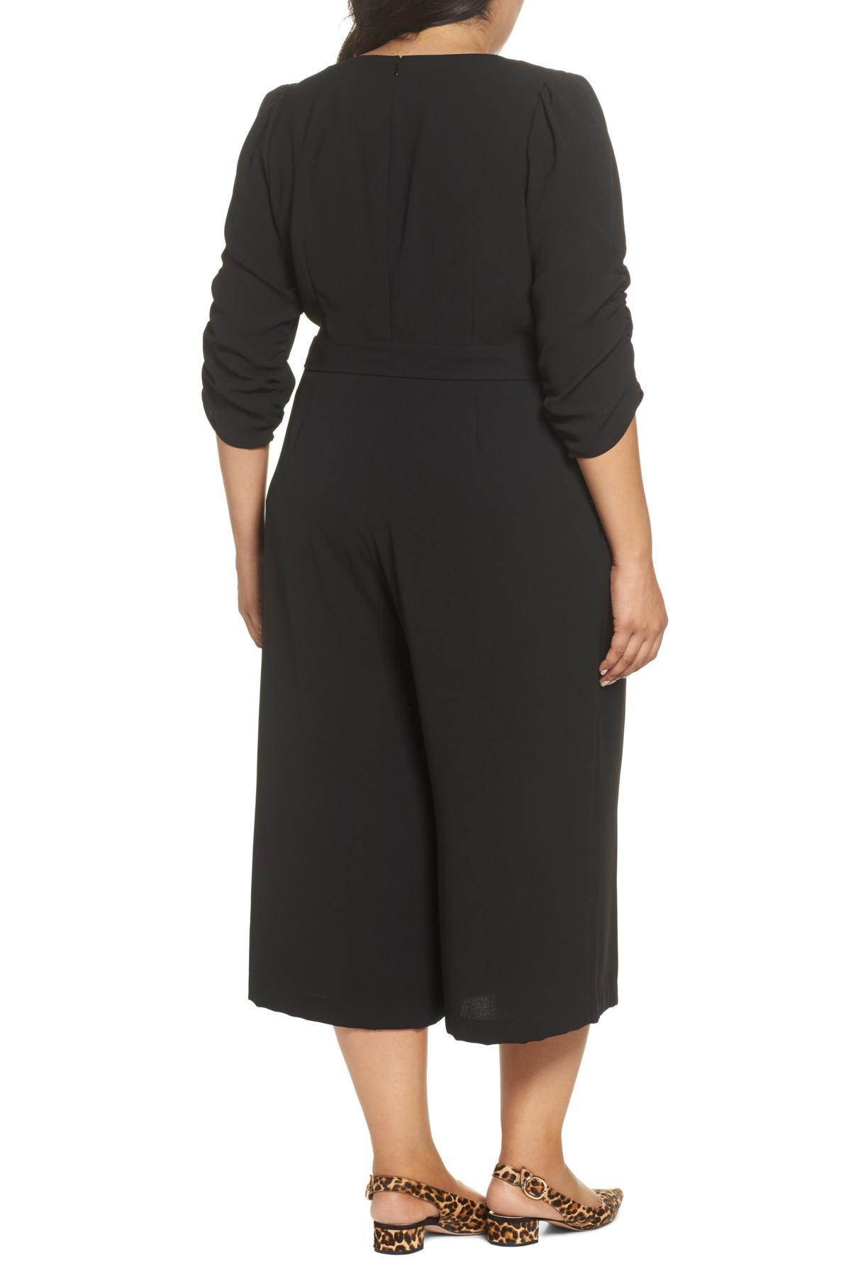 378e71764dc Eliza J - Black Surplice Ruched Sleeve Wide Leg Jumpsuit (plus Size) -  Lyst. View fullscreen