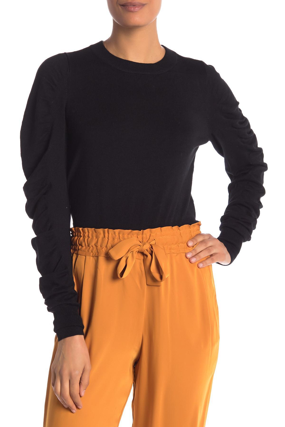 Lyst - Vero Moda Gathered Sleeve Knit Sweater in Black bba5c108a167