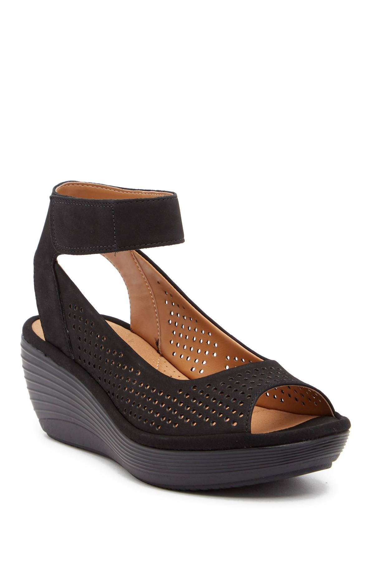5bd5eca3a70 Lyst - Clarks Reedly Salene Wedge Sandal - Wide Width Available in Black