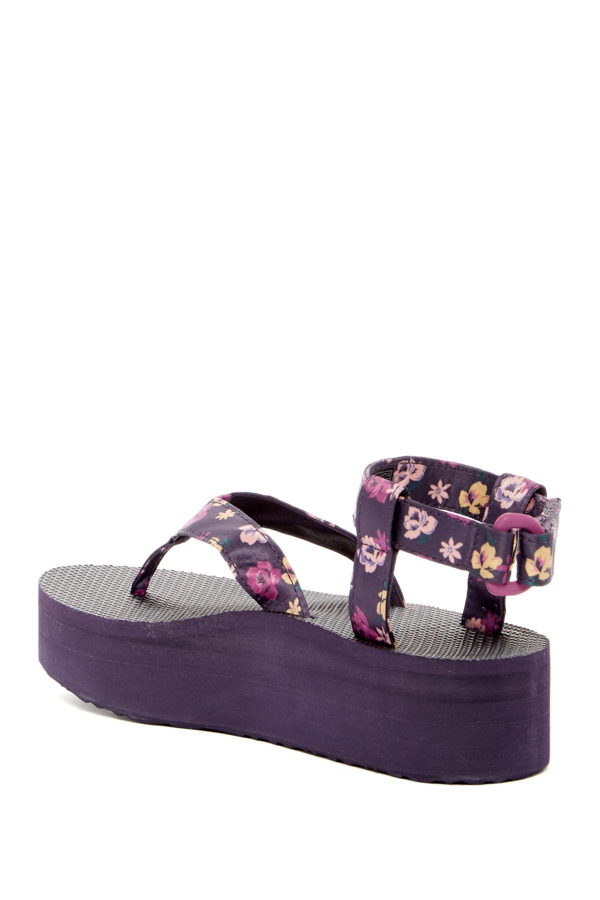 0ba893d4048a Lyst - Teva Floral Flatform Thong Sandal in Purple