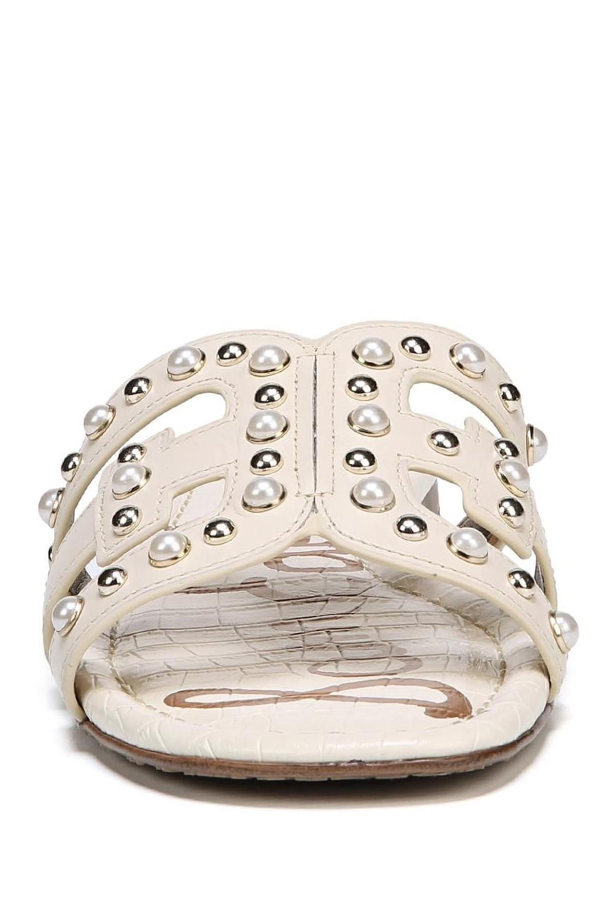 6d73fb40f381 Lyst - Sam Edelman Bay 2 Embellished Slide Sandal in White - Save 16%