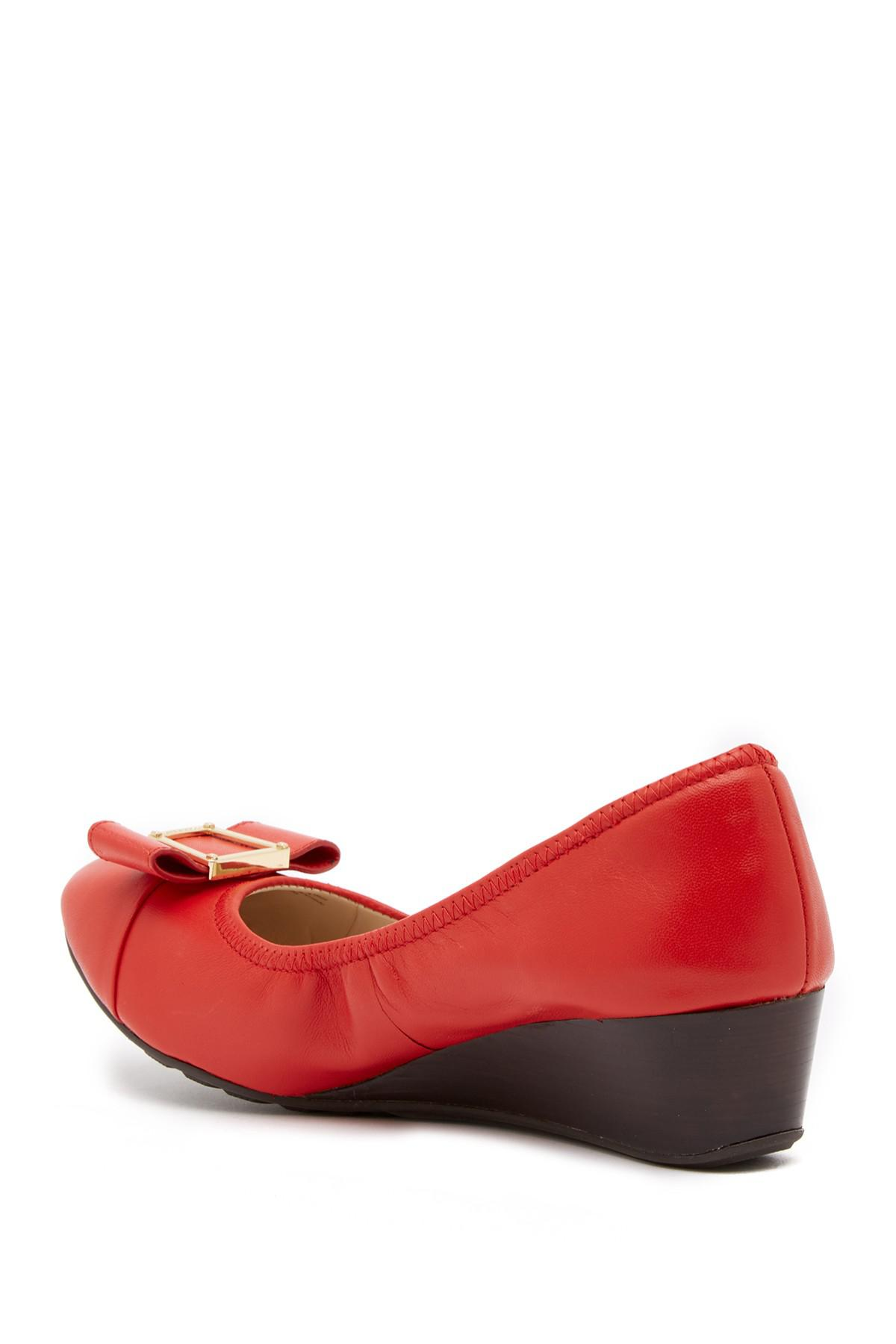 c284f8dcdfc Lyst - Cole Haan Emory Bow Wedge Pump in Red
