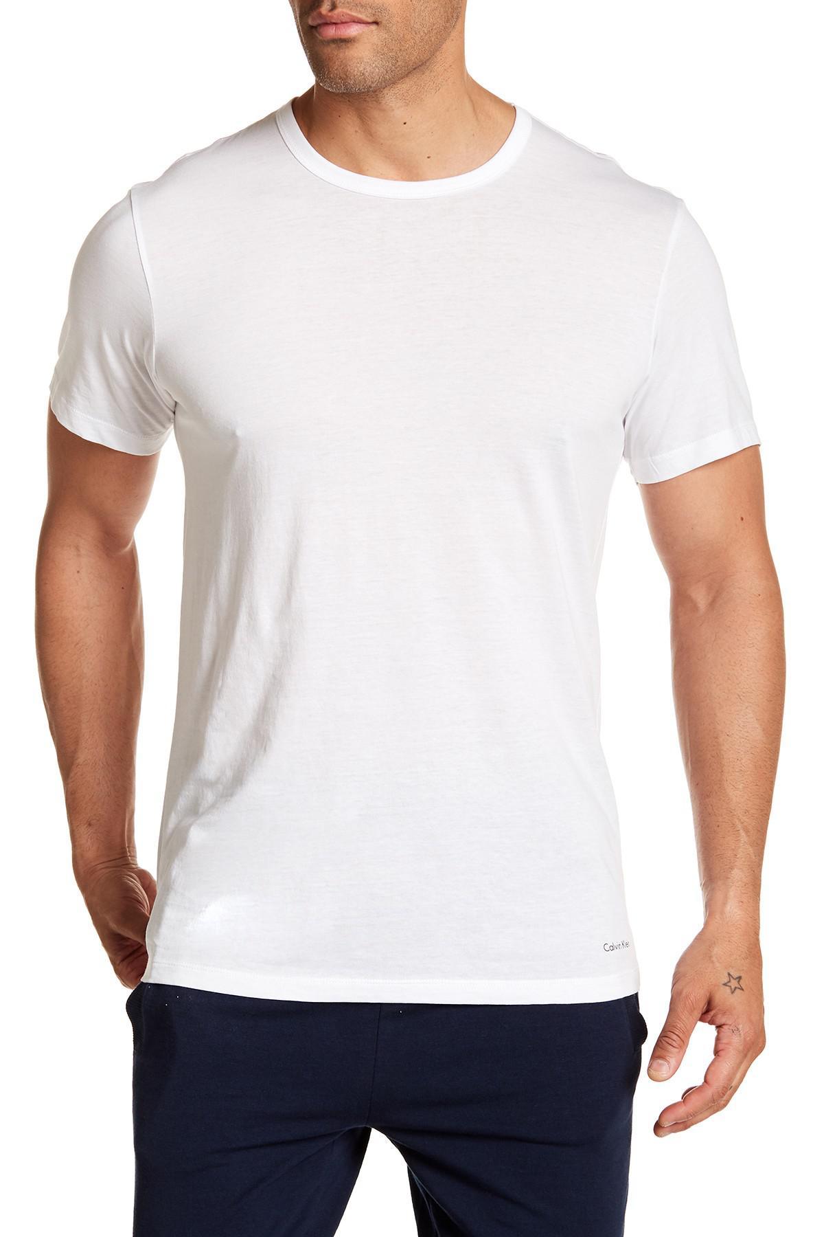Lyst - Calvin Klein Slim Fit Cotton Crew Tee in White for Men 5c8ae69bd