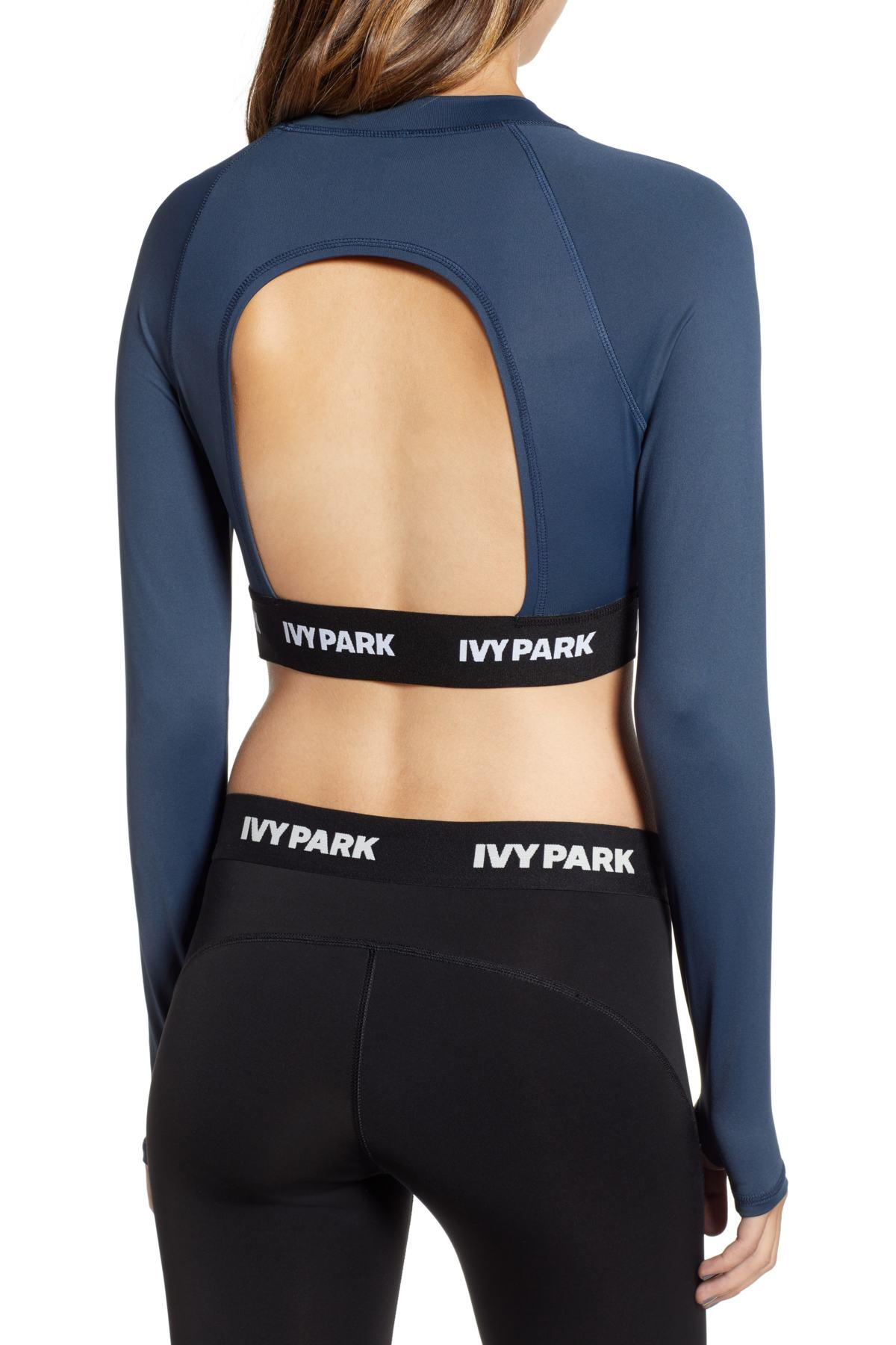 6bd4b269f3a86 Lyst - Ivy Park Active Long Sleeve Crop Top In Blue in Blue