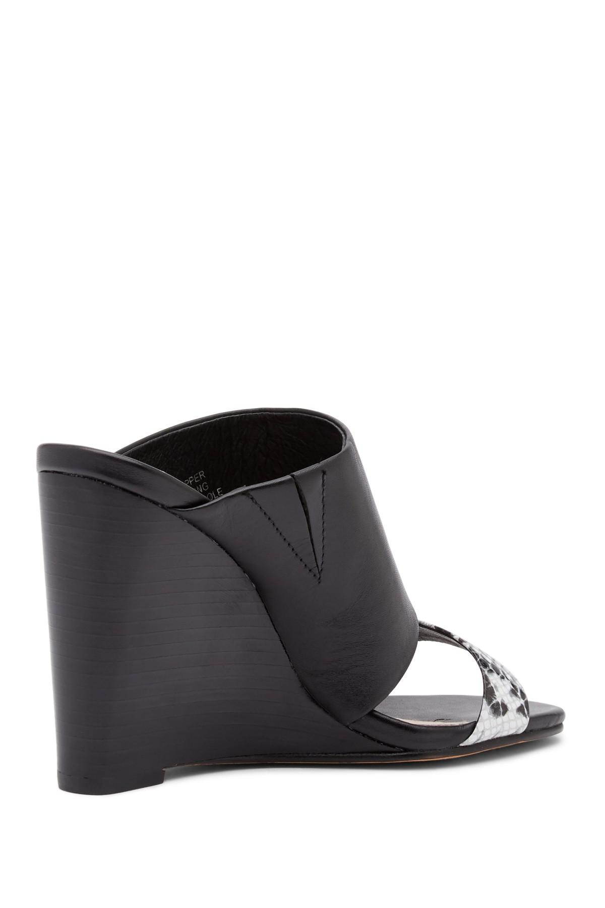 3a0d5d5dde Andrew Stevens Geneva Wedge Heel Sandal in Black - Lyst