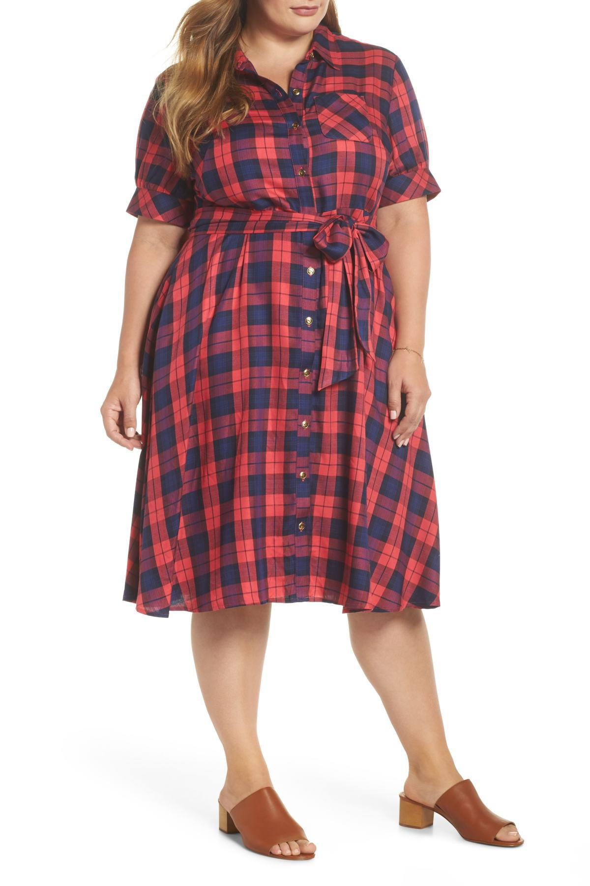 e23f786e4c63 Lyst - 1901 Plaid Shirtdress (plus Size) in Red