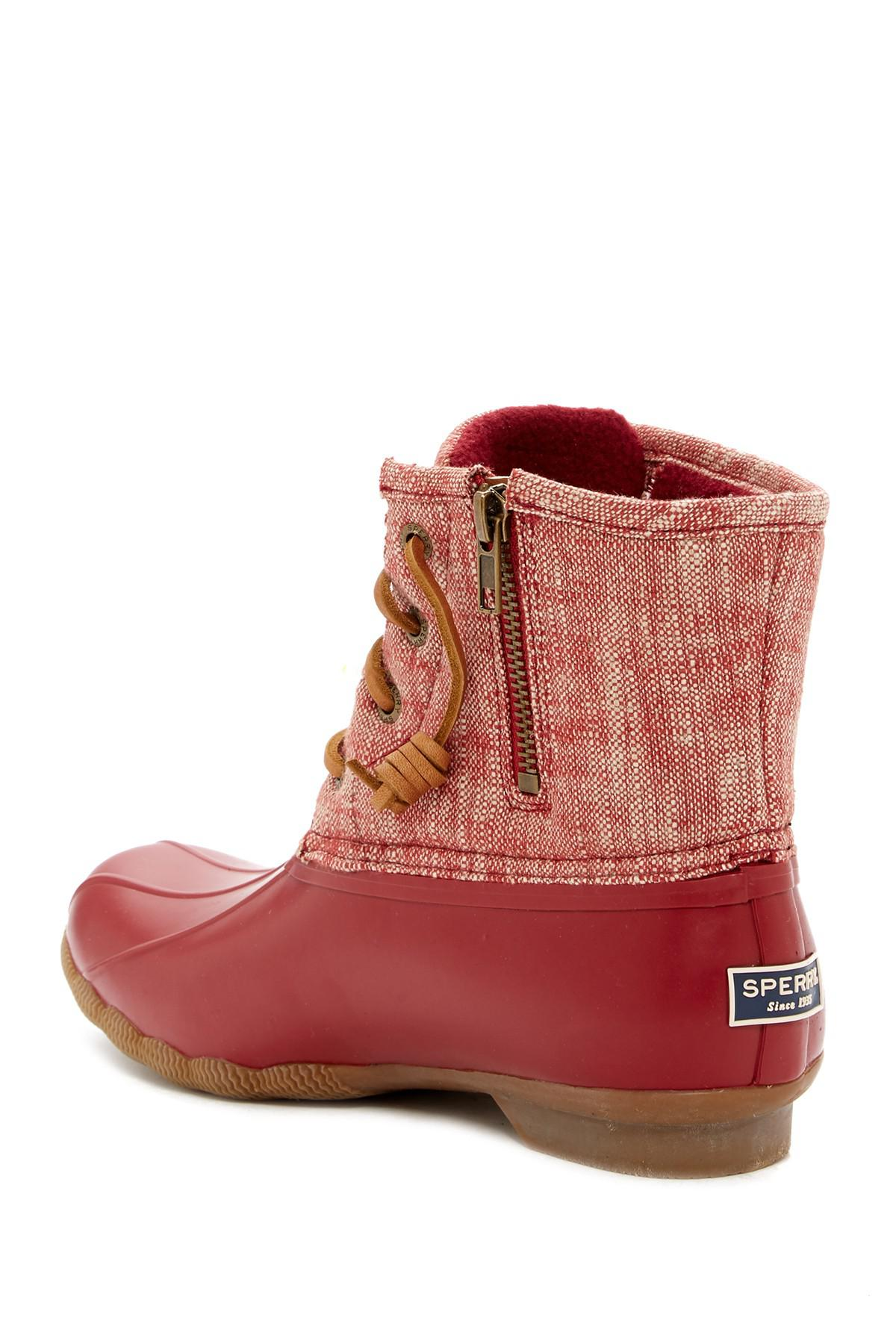 9e1ebef9679 Lyst - Sperry Top-Sider Saltwater Waterproof Canvas Duck Boot in Red