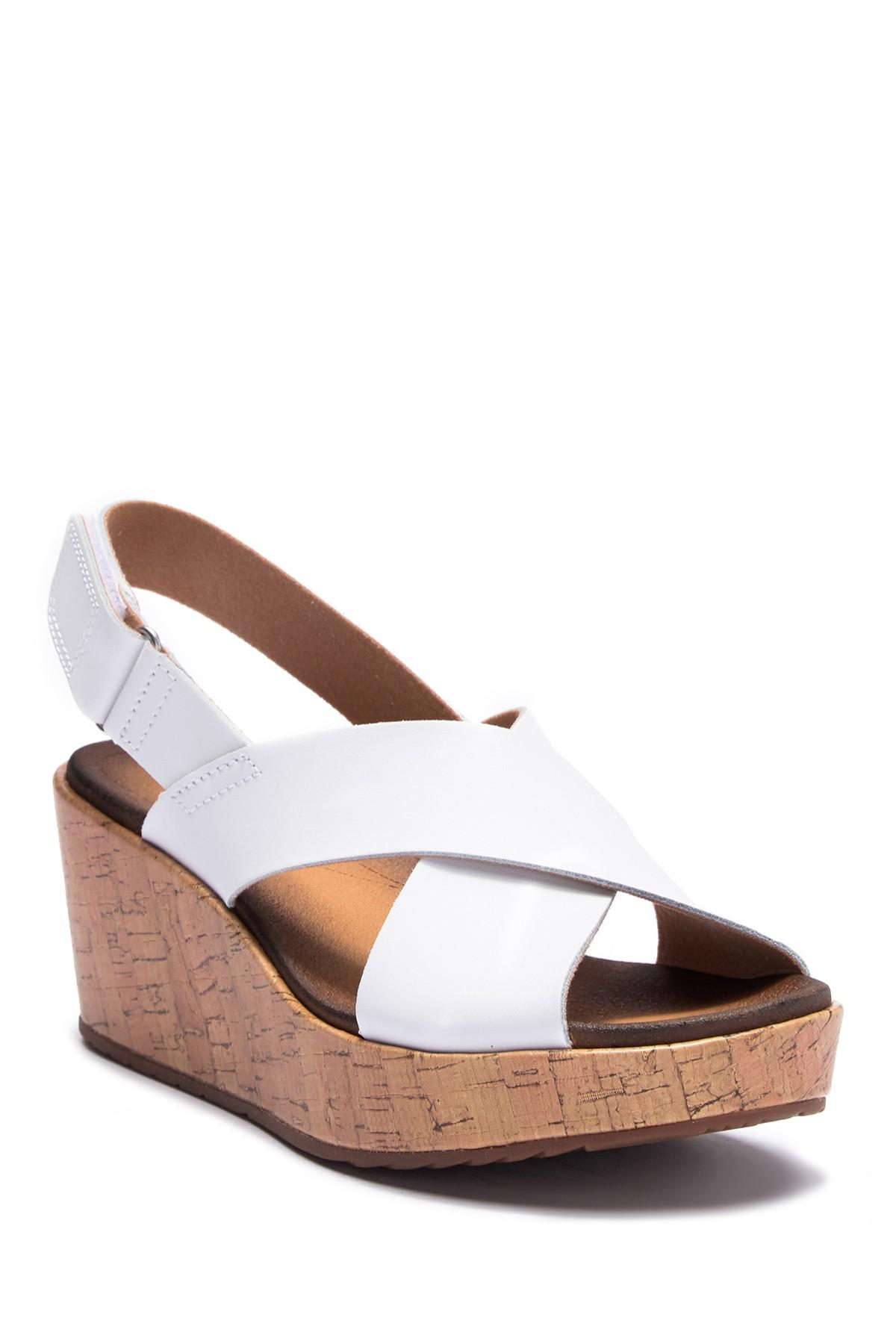 08a29295f7e Lyst - Clarks Stasha Hale Leather Wedge Sandal - Wide Width ...